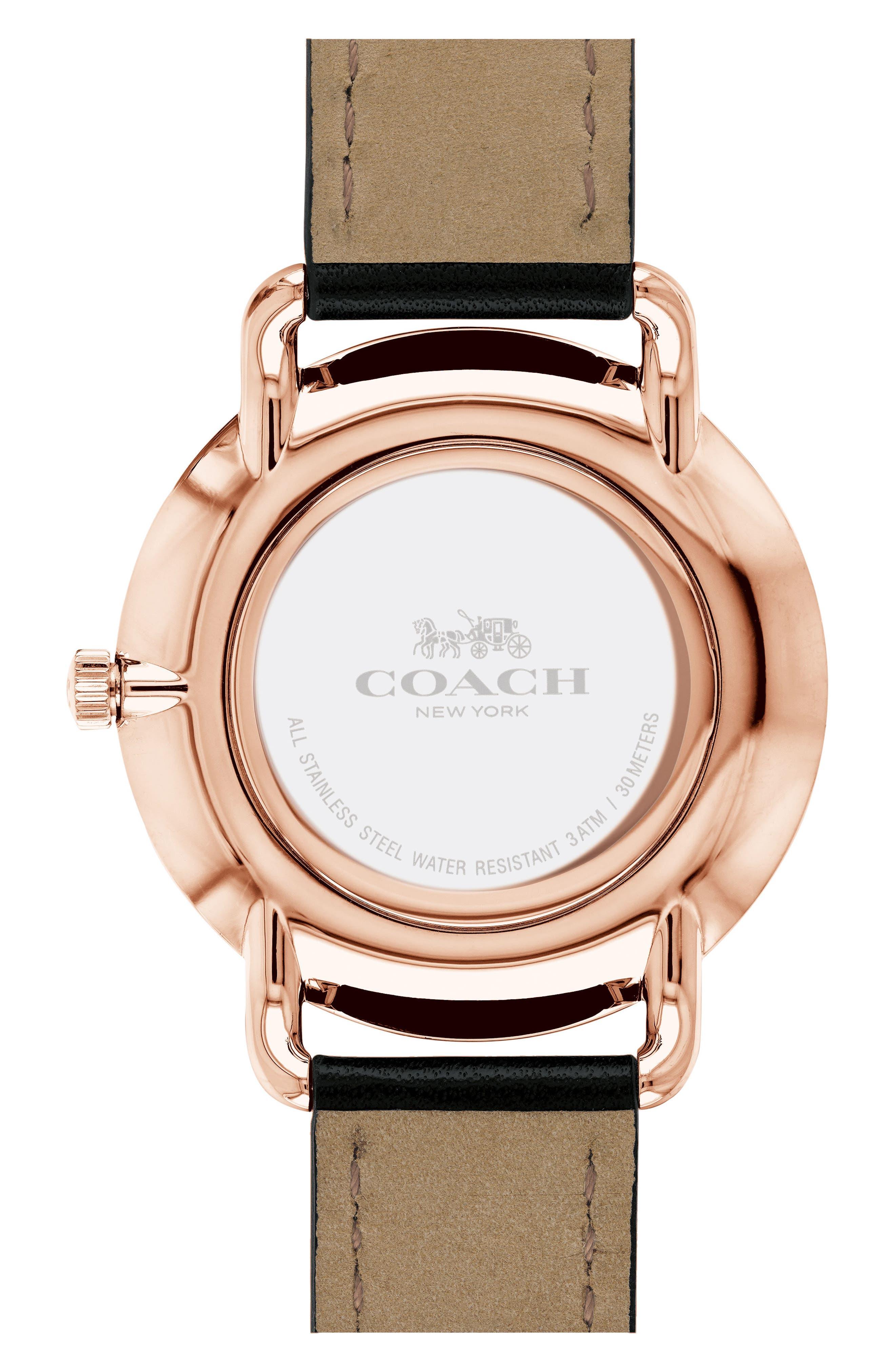 Delancey Leather Strap Watch, 40mm,                             Alternate thumbnail 2, color,                             BLACK/ CHALK/ ROSE GOLD