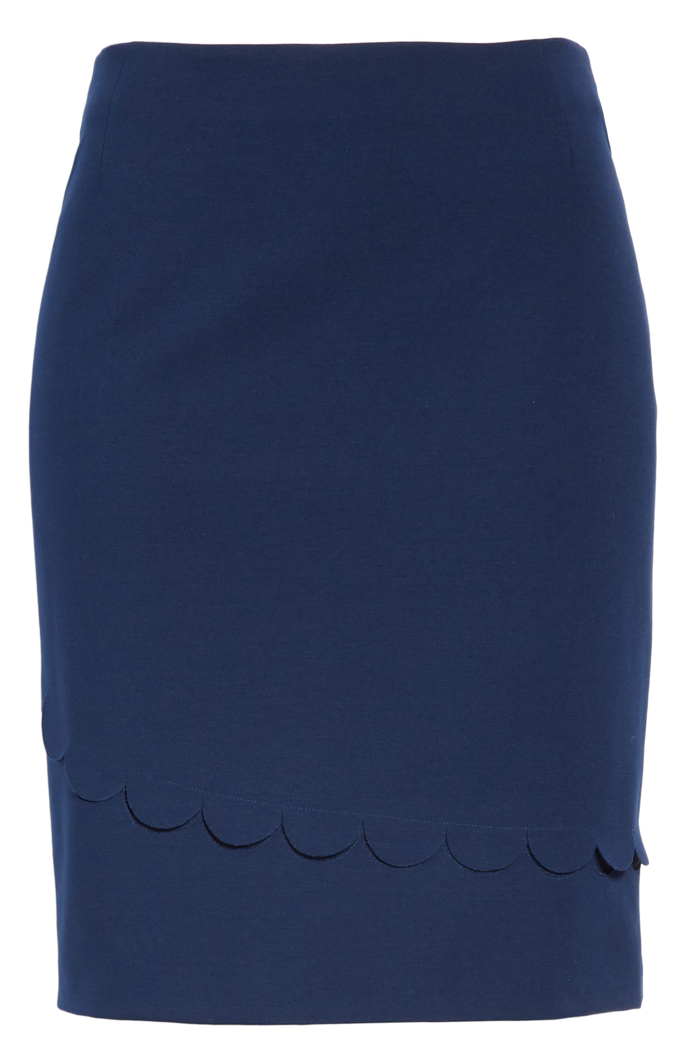 AKRIS PUNTO,                             Scallop Detail Miniskirt,                             Alternate thumbnail 3, color,                             BLU MARE