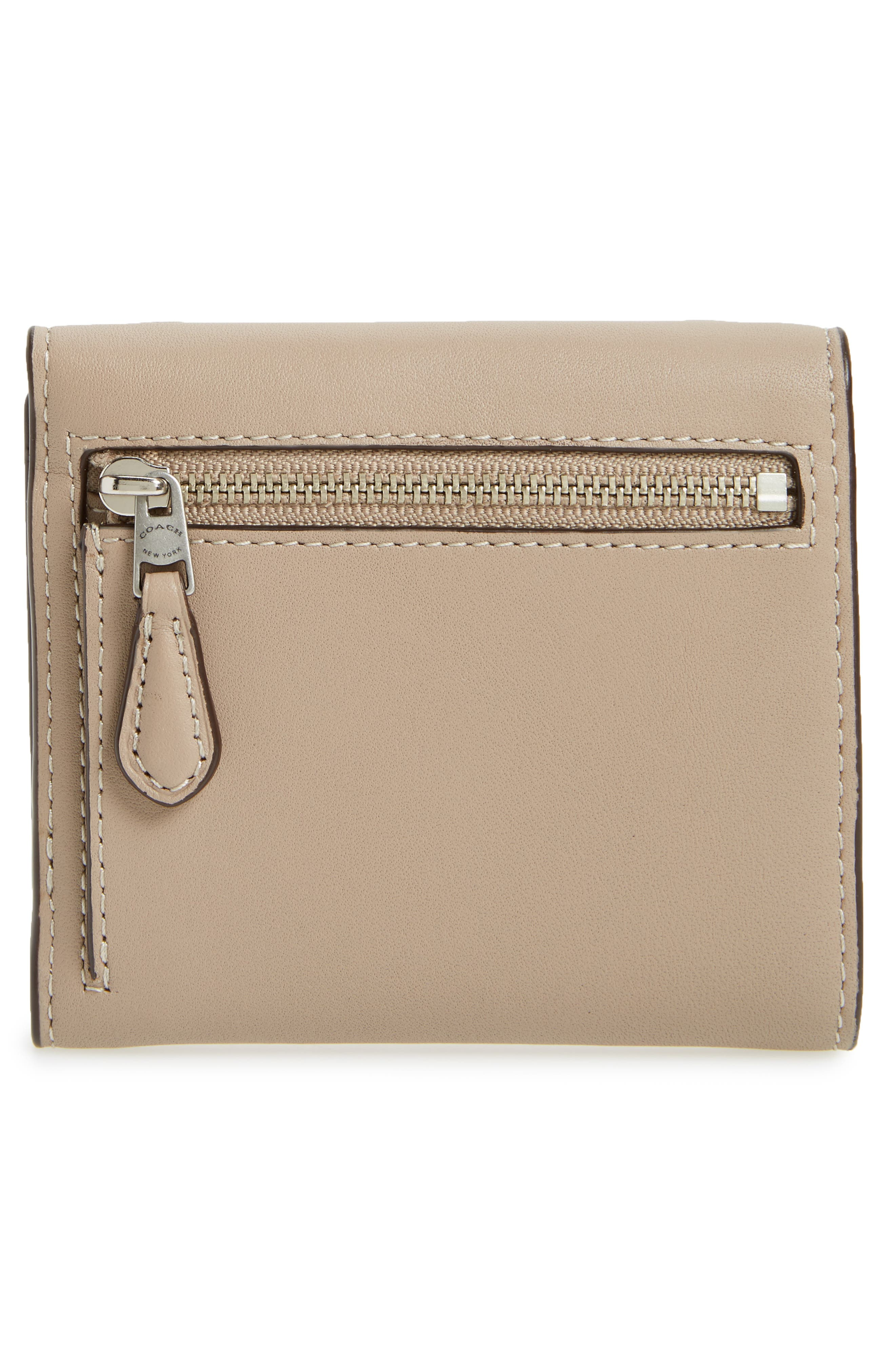 Small Tea Rose Calfskin Leather Trifold Wallet,                             Alternate thumbnail 4, color,                             020