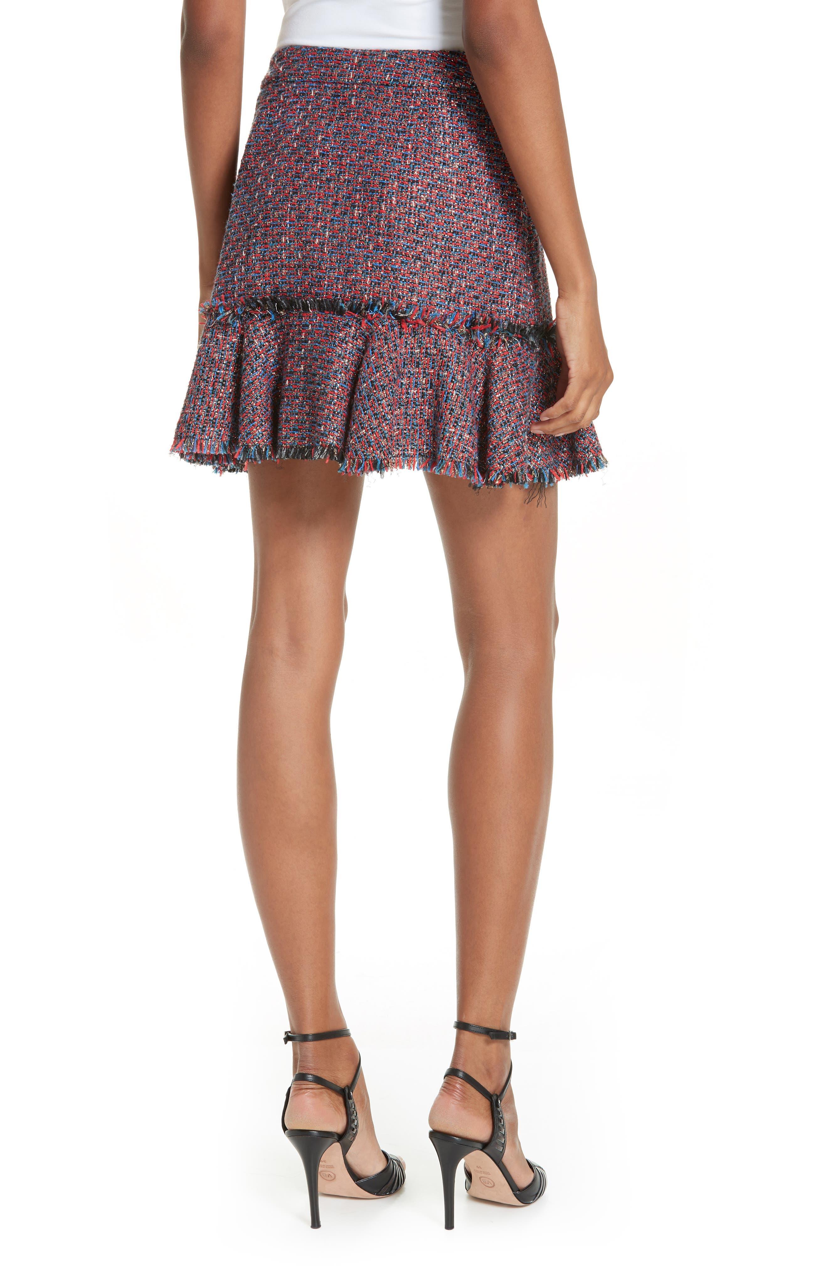 Madra Tweed Skirt,                             Alternate thumbnail 2, color,                             RED MULTI