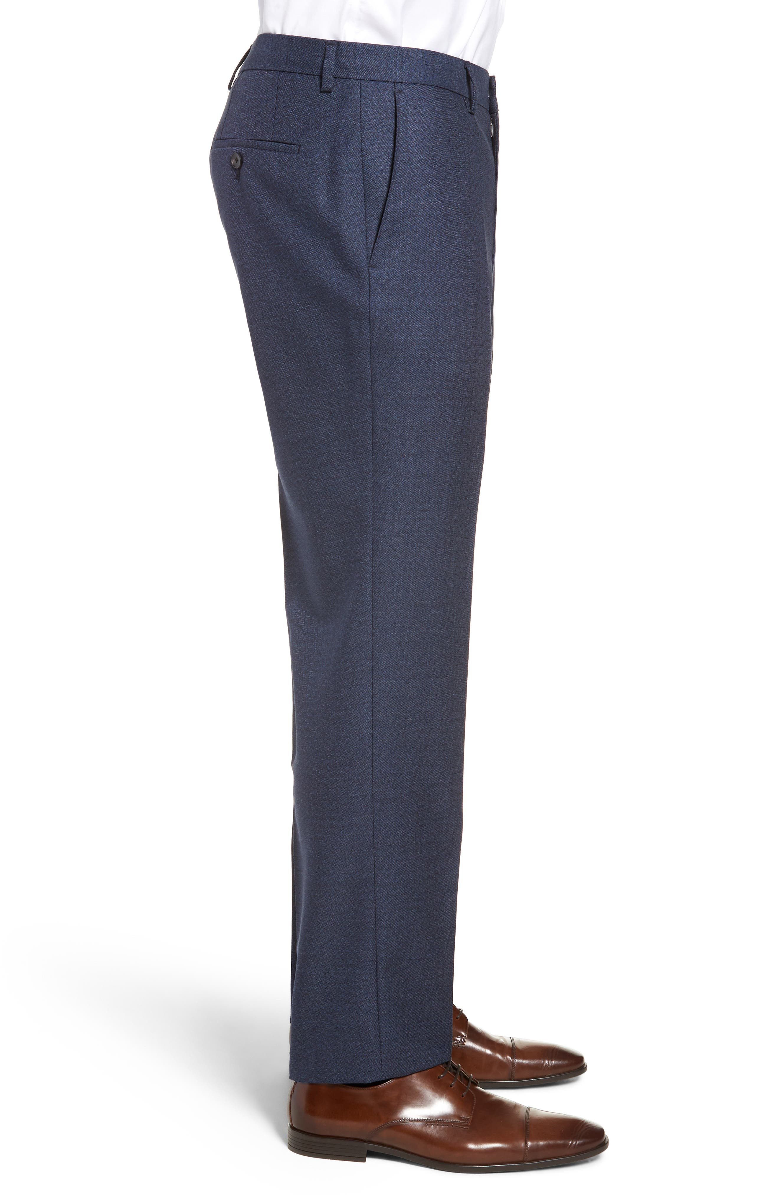 Genesis Flat Front Solid Wool Trousers,                             Alternate thumbnail 3, color,                             OPEN BLUE