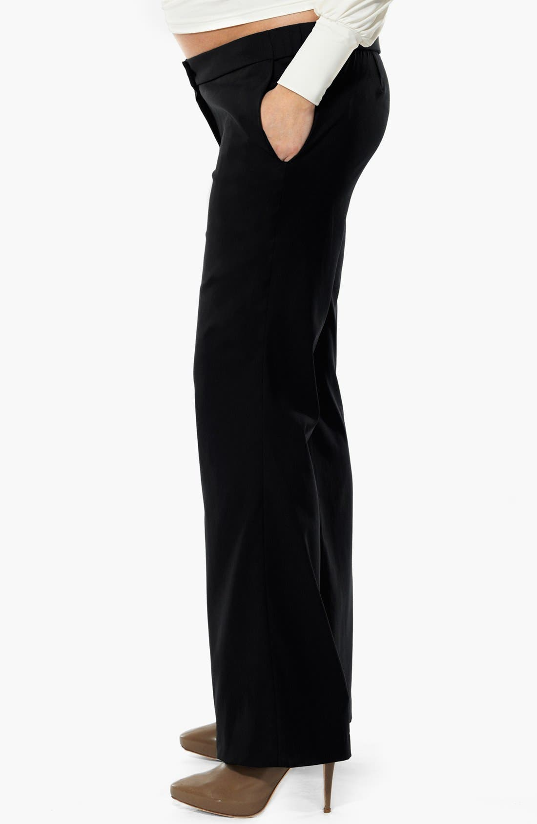 London 'Morgan' Tailored Maternity Pants,                             Alternate thumbnail 3, color,                             001