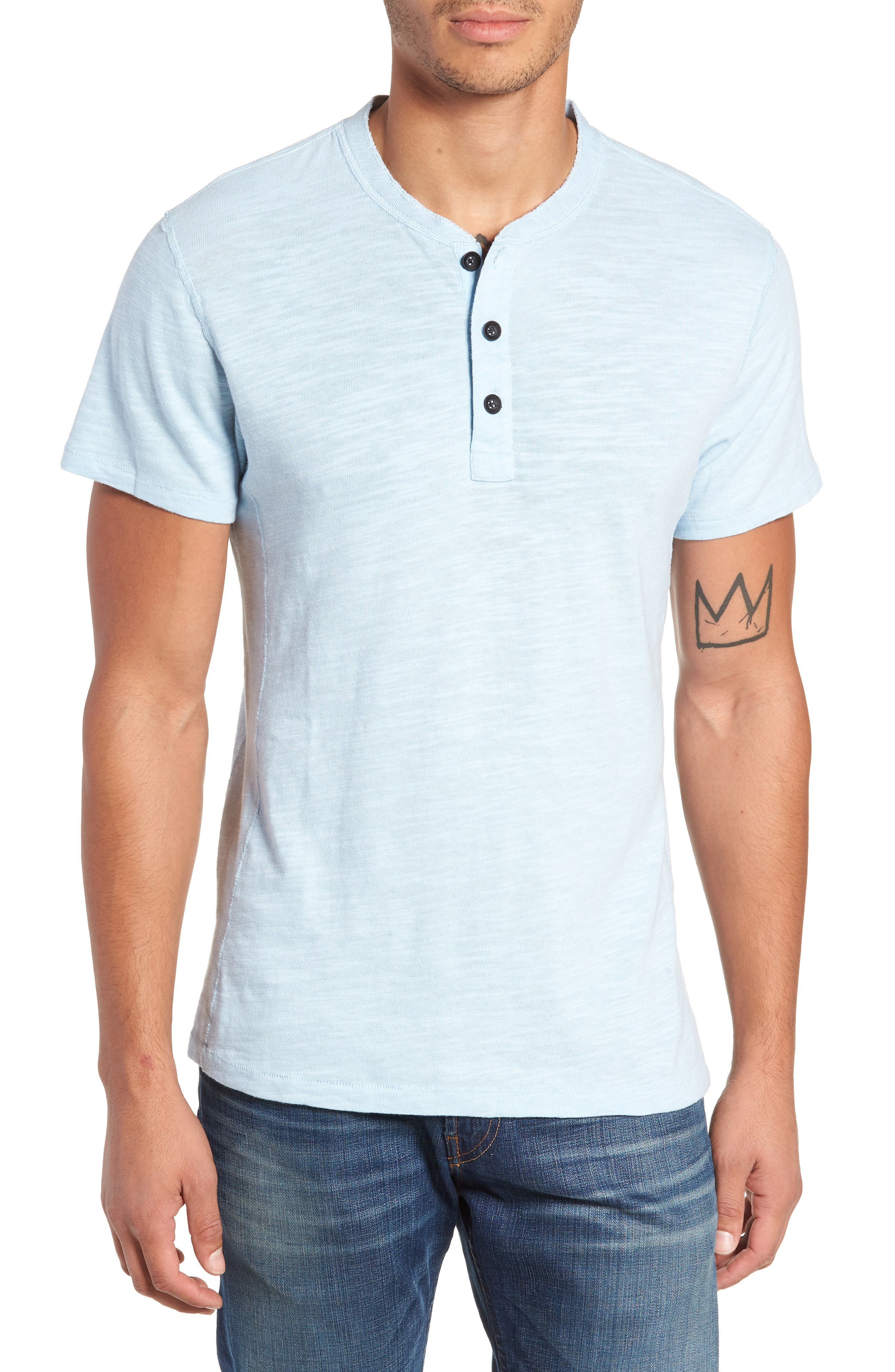 Standard Issue Henley,                         Main,                         color, PALE AZURE