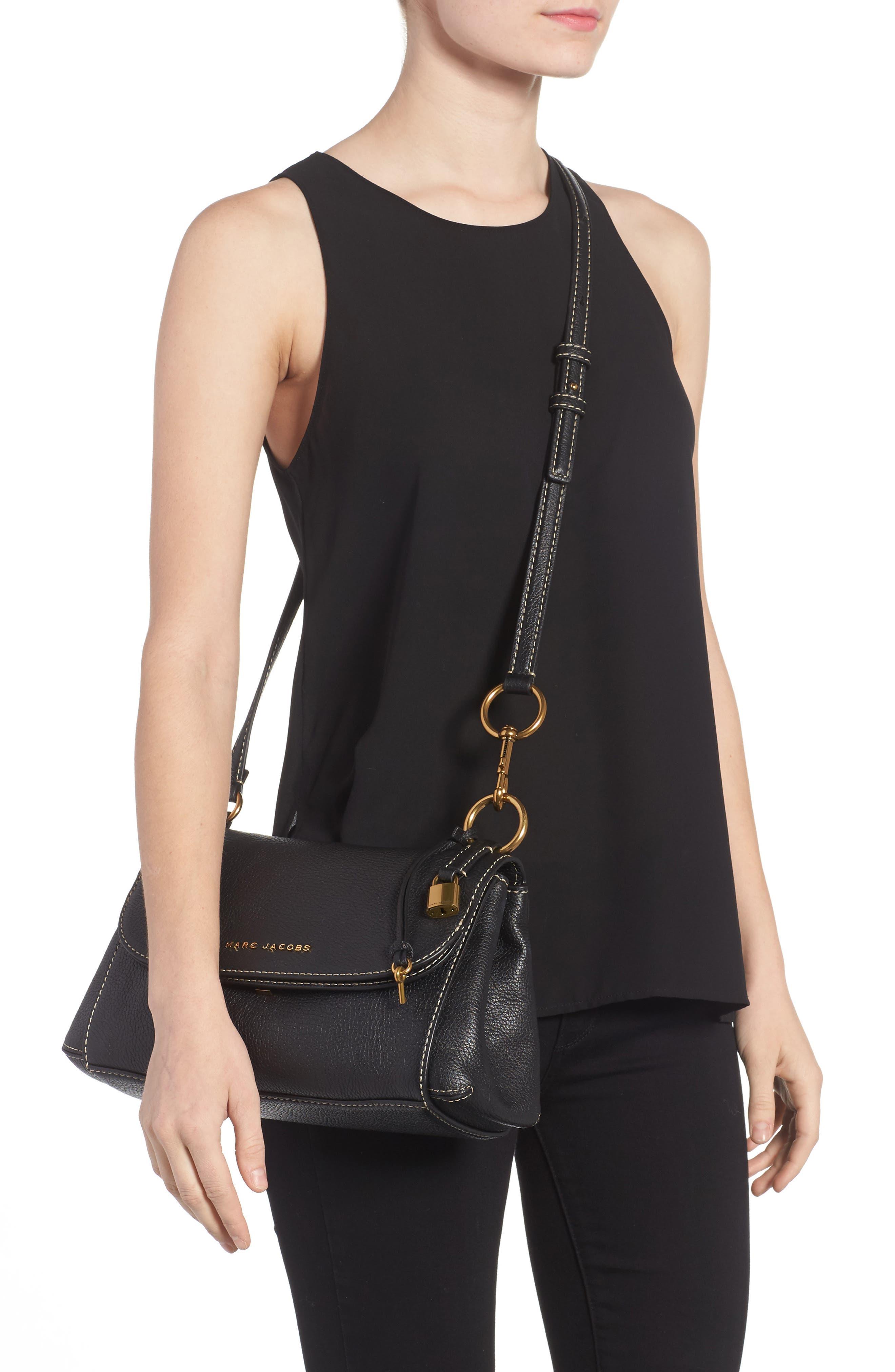 The Grind Boho Leather Shoulder Bag,                             Alternate thumbnail 2, color,                             BLACK/ GOLD