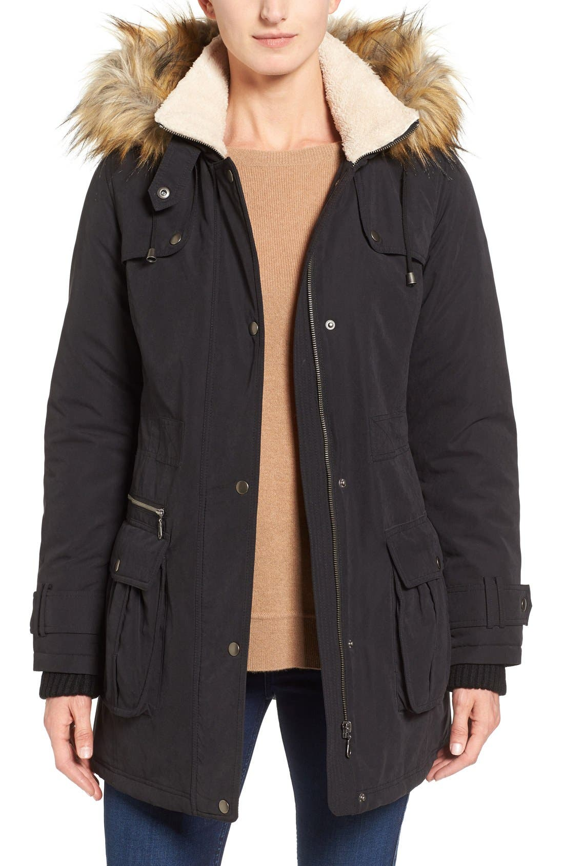 Hooded Anorak with Faux Fur Trim,                         Main,                         color,