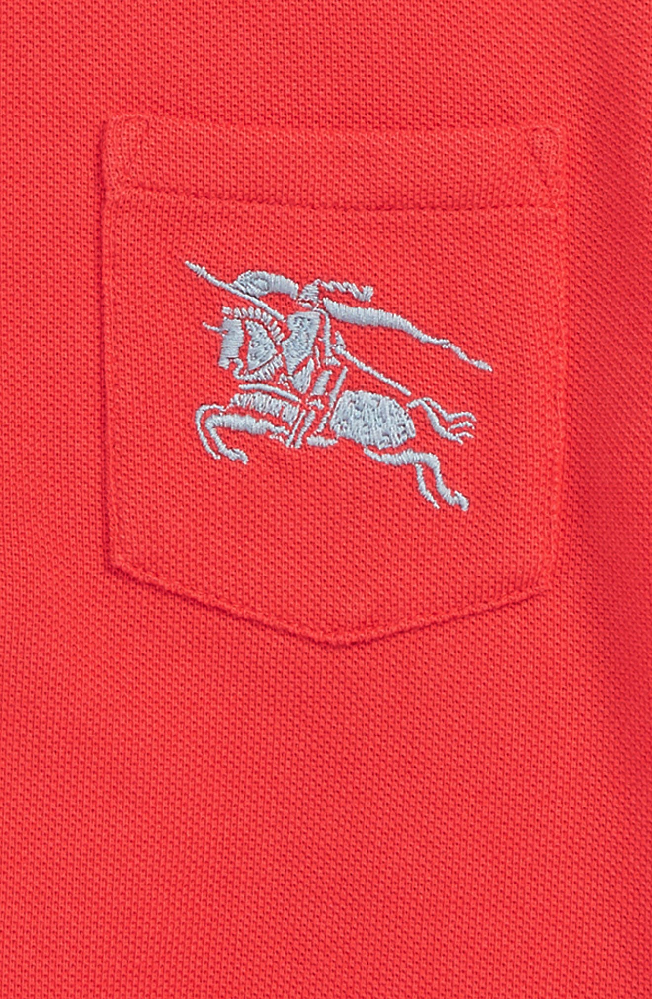 BURBERRY,                             Grant Polo,                             Alternate thumbnail 2, color,                             BRIGHT RED