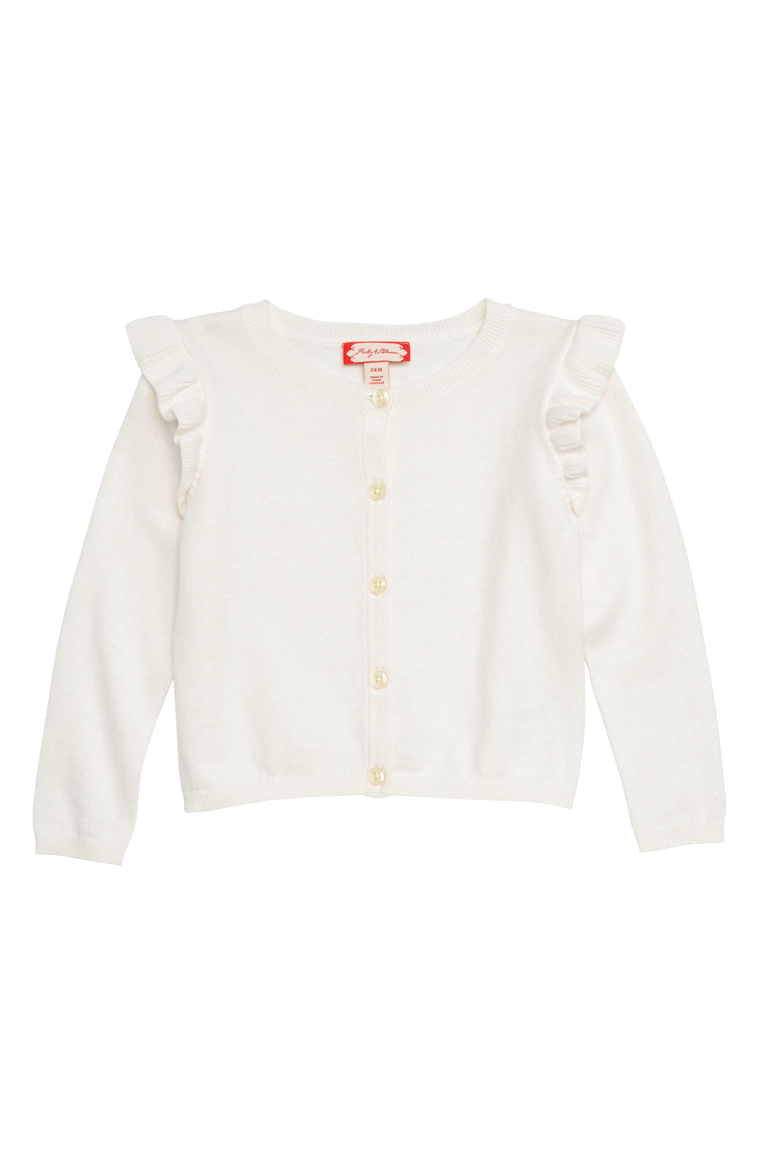 Ruffle Sleeve Cardigan,                             Main thumbnail 1, color,                             IVORY EGRET