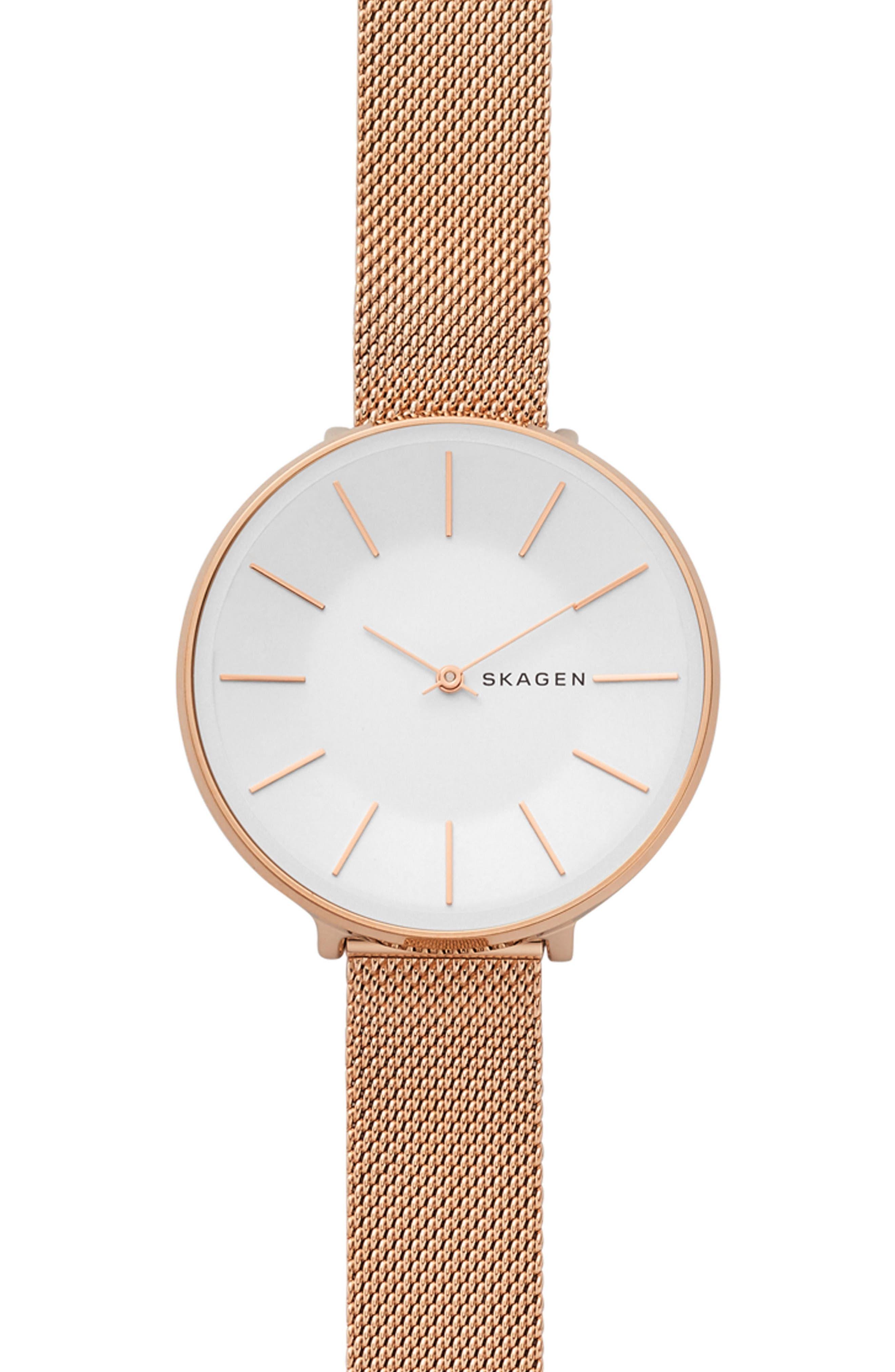 Karolina Mesh Strap Watch, 38mm,                         Main,                         color, ROSE GOLD