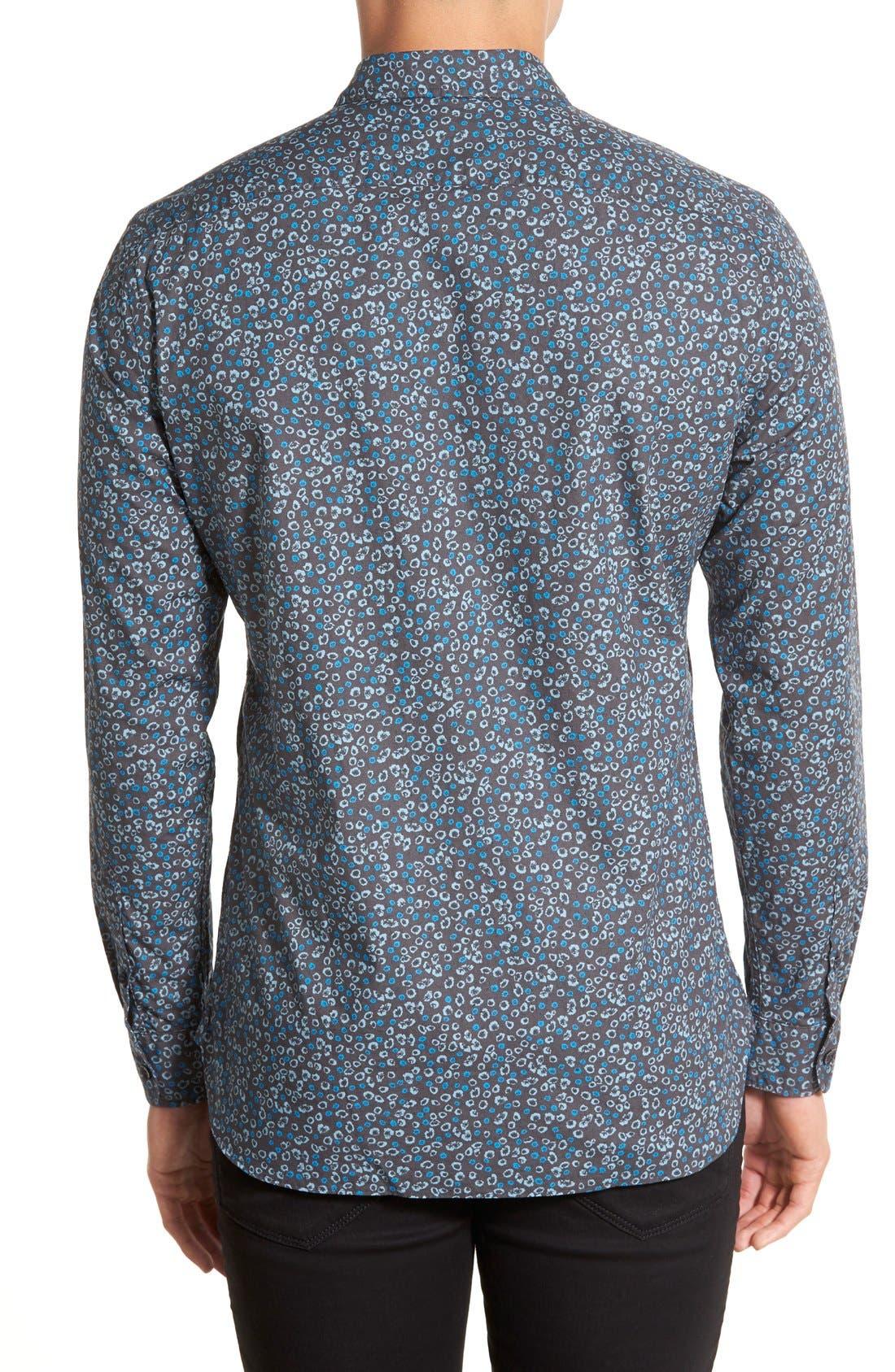 Brit 'Jonson' Trim Fit Flower Print Cotton Sport Shirt,                             Alternate thumbnail 3, color,                             410