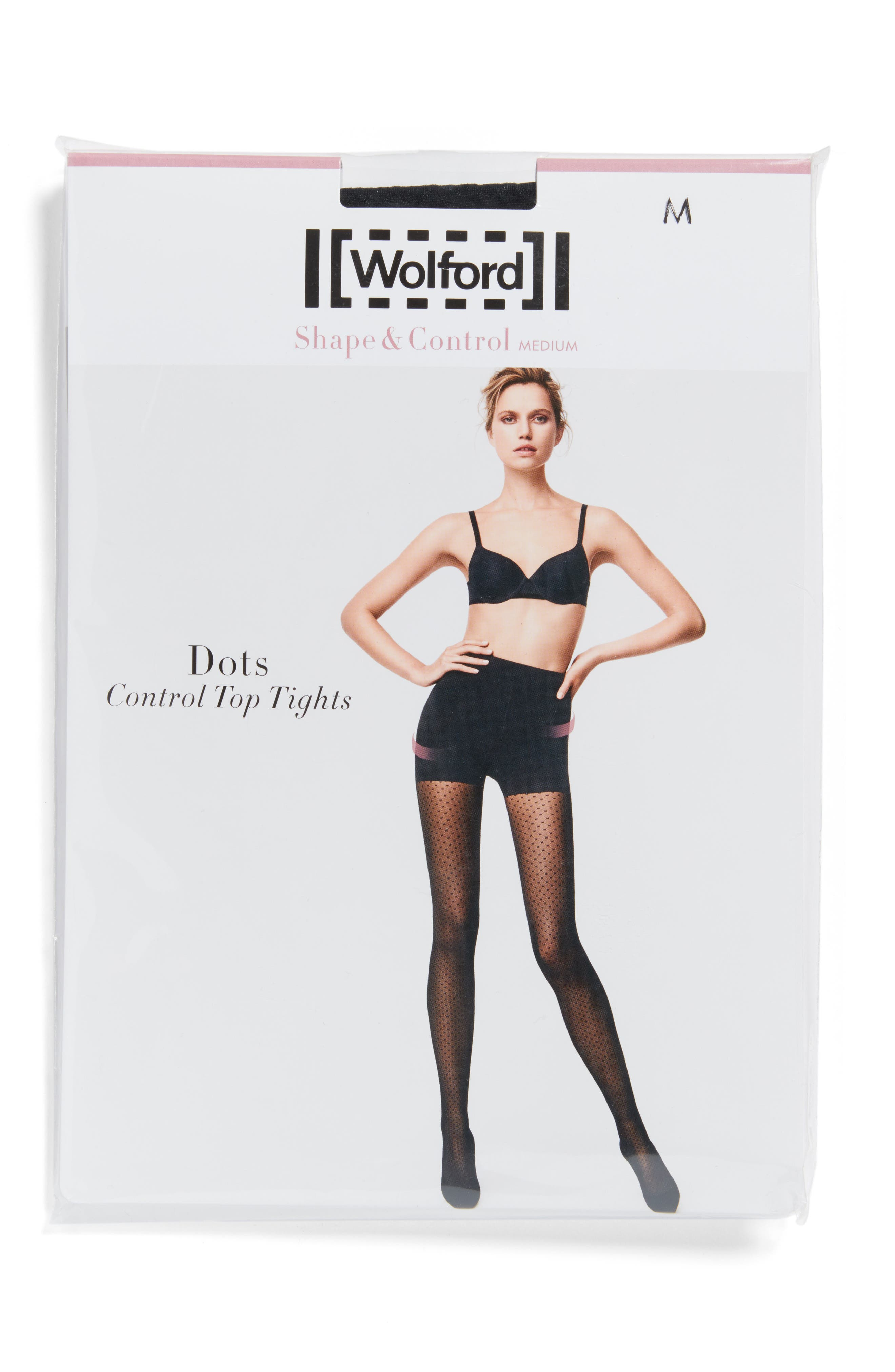 Dots Control Tights,                             Alternate thumbnail 2, color,                             002