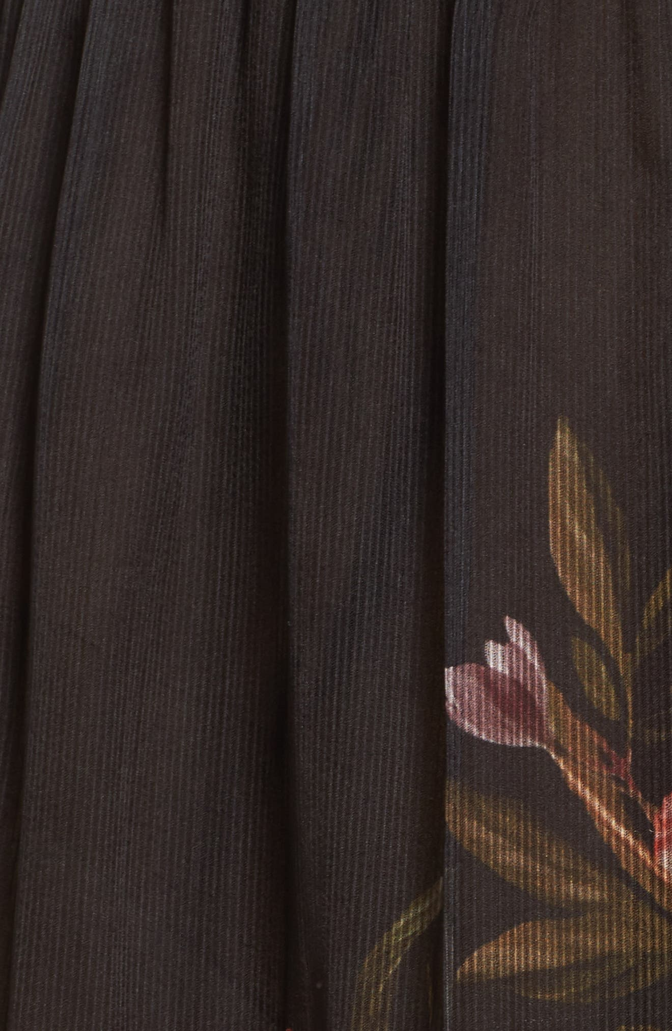 Noir Rana Smocked Neck Midi Dress,                             Alternate thumbnail 5, color,                             001