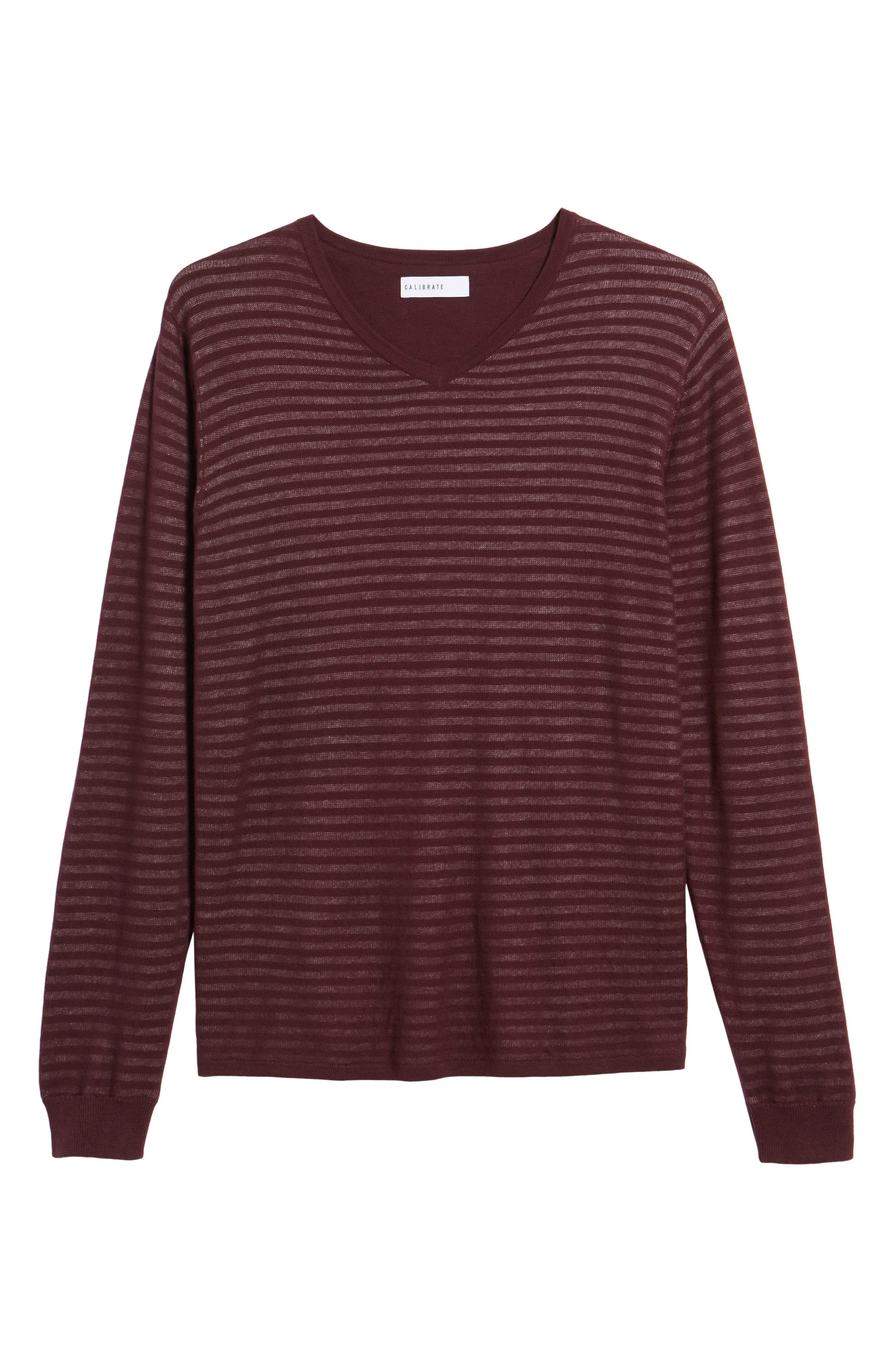 Stripe V-Neck Double Layer Sweater,                             Alternate thumbnail 12, color,