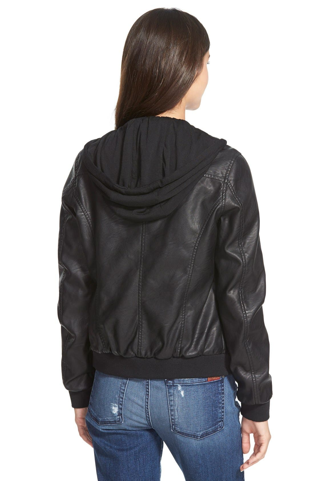 Faux Leather Bomber Jacket with Jersey Knit Hood,                             Alternate thumbnail 2, color,                             001