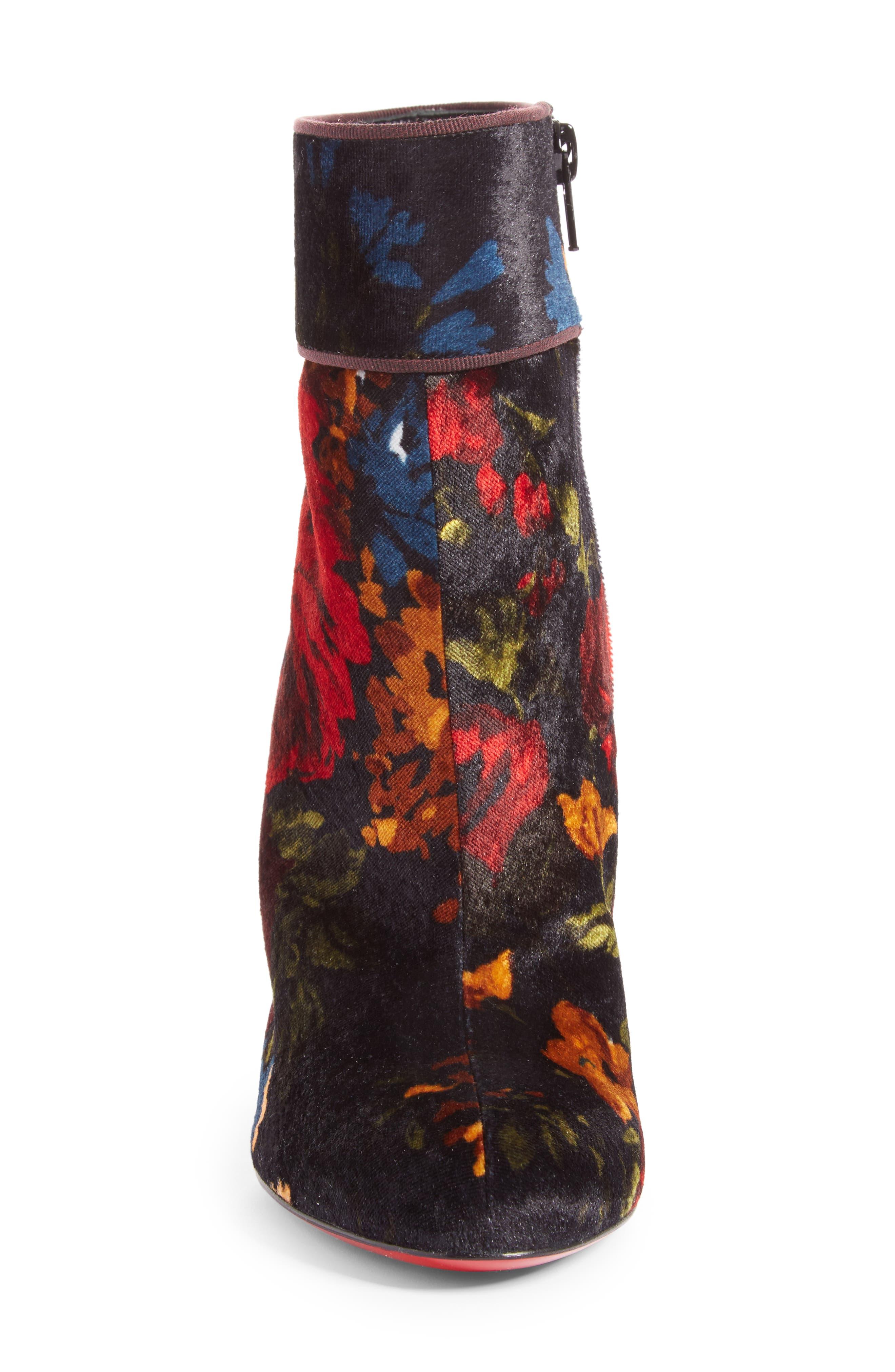 CHRISTIAN LOUBOUTIN,                             Moulamax Floral Velvet Bootie,                             Alternate thumbnail 4, color,                             013