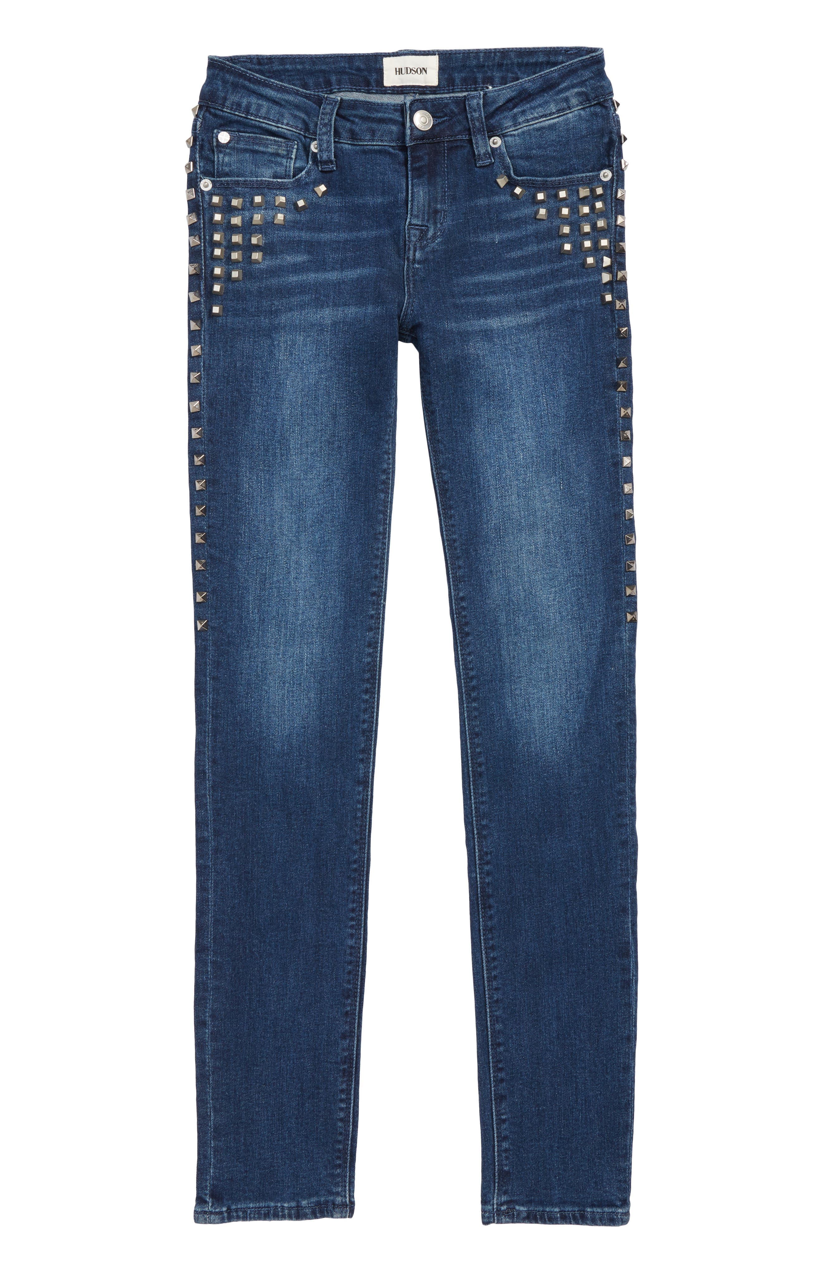 Studded Skinny Jeans,                             Main thumbnail 1, color,                             DARK STONE