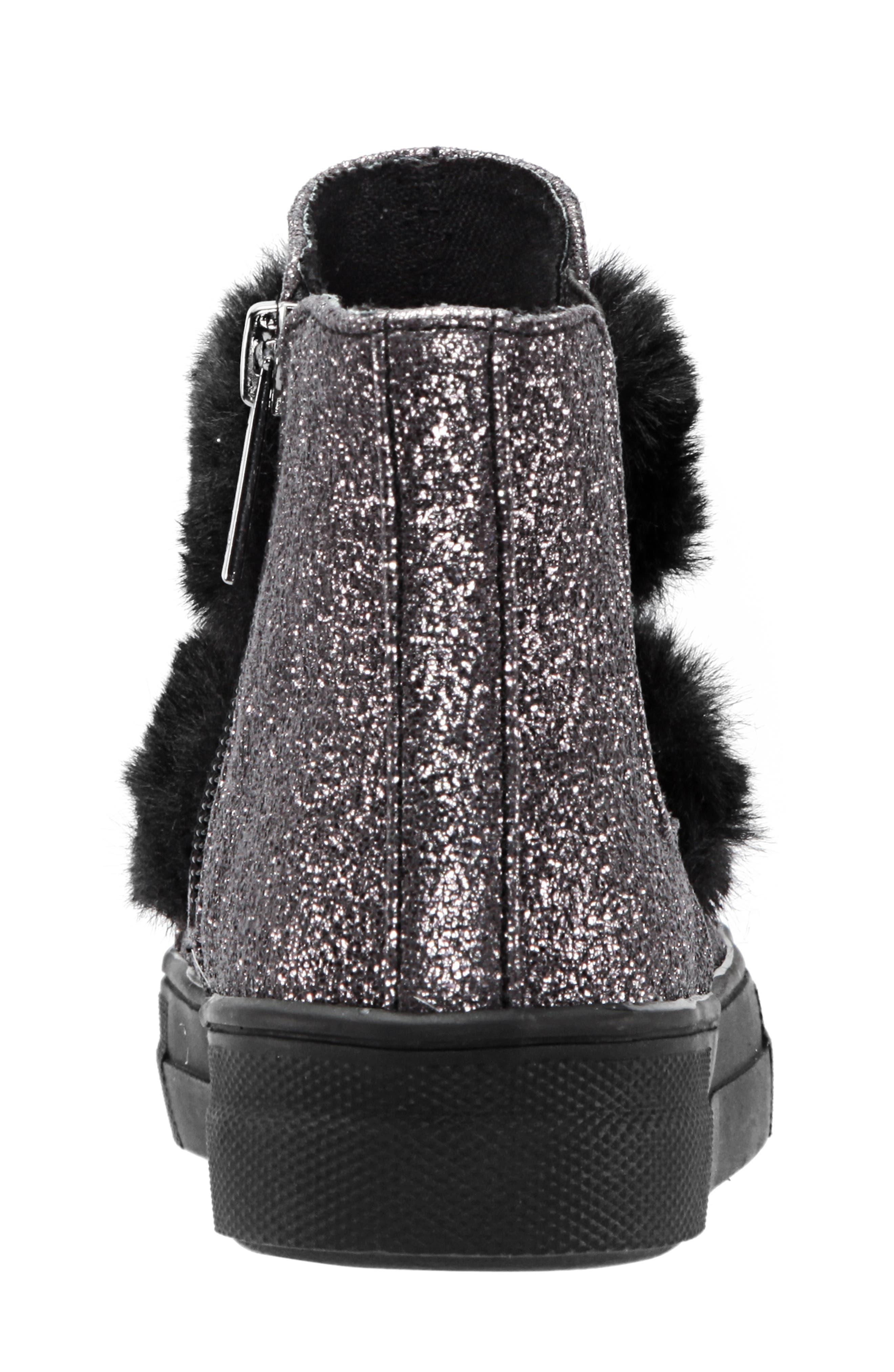 Helen Faux Fur Bootie Sneaker,                             Alternate thumbnail 7, color,                             PEWTER CRACKLE METALLIC
