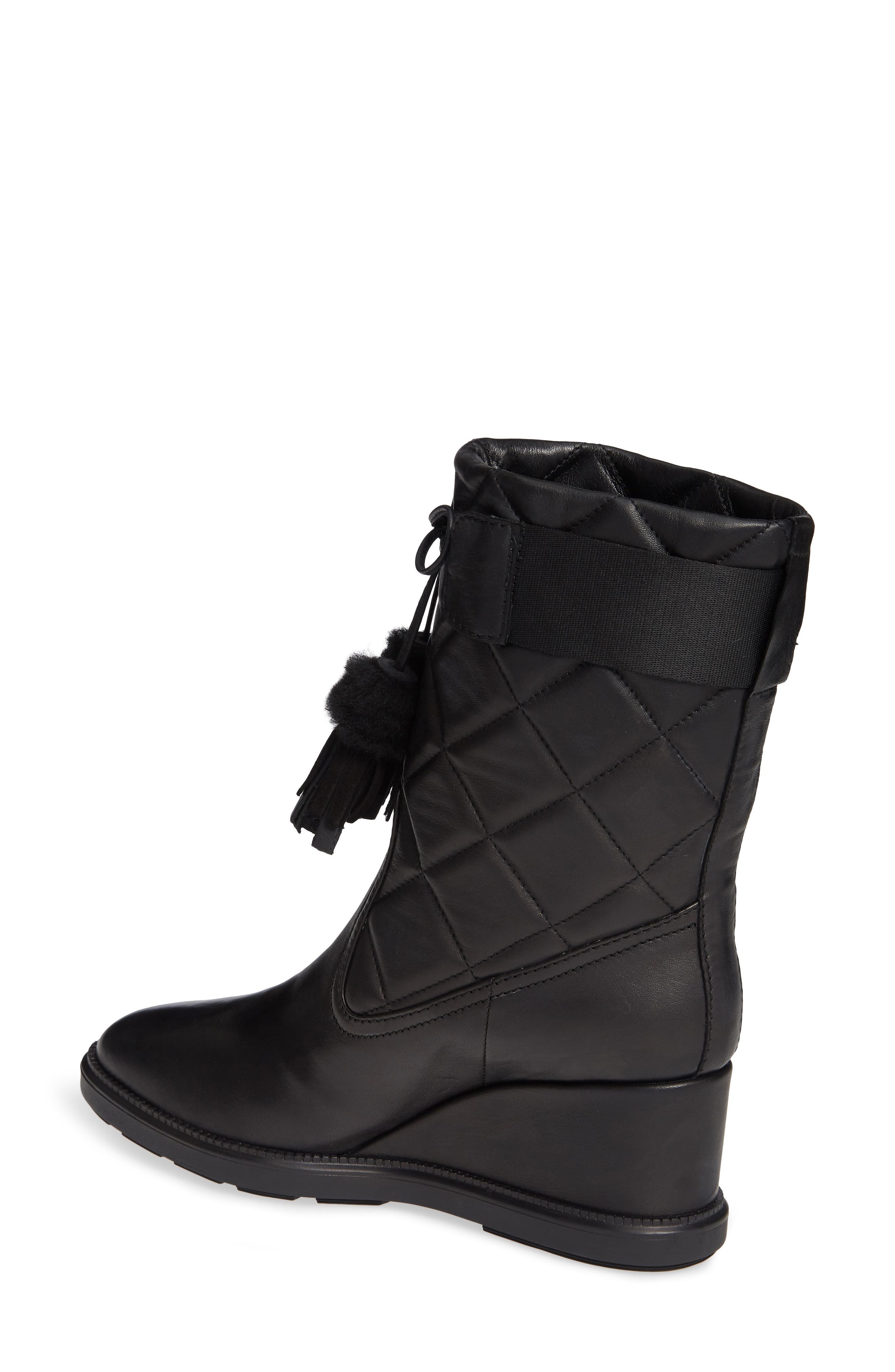 Caliana Water Resistant Genuine Shearling Lined Boot,                             Alternate thumbnail 2, color,                             BLACK NAPPA