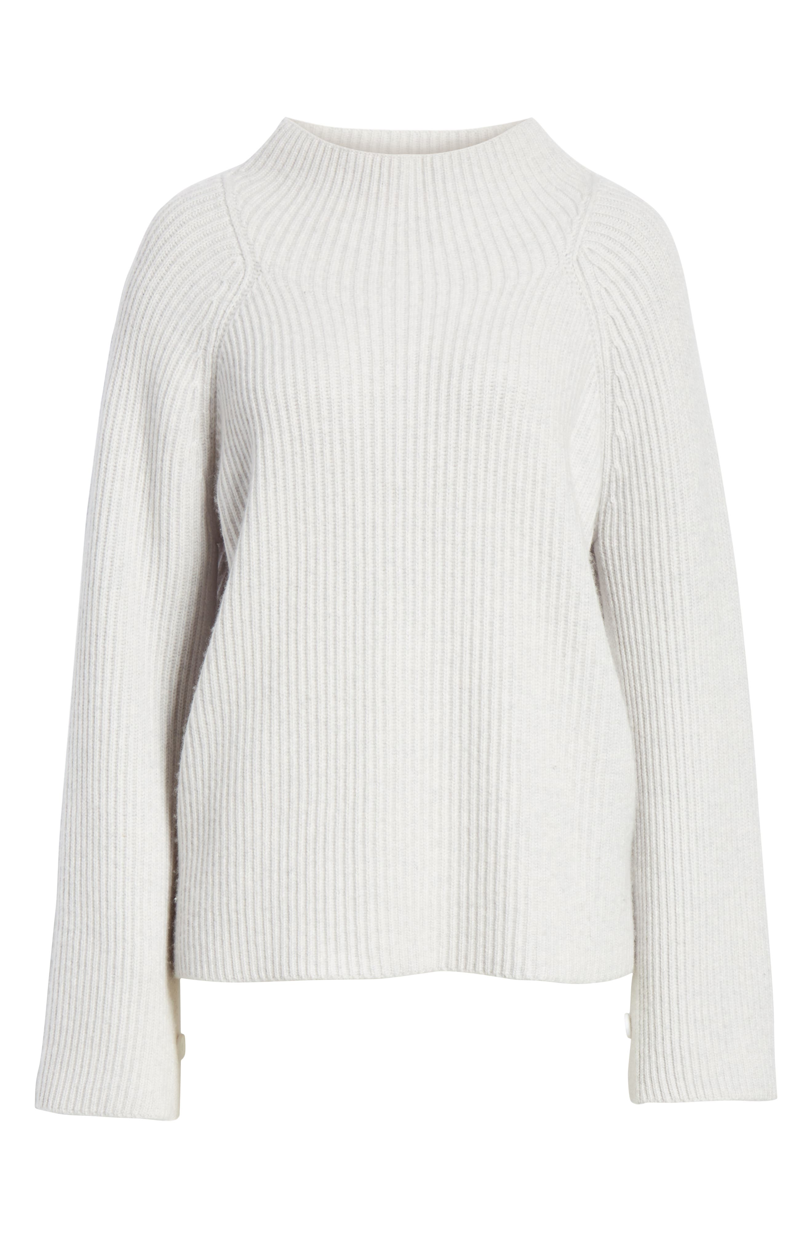 Button Cuff Funnel Neck Sweater,                             Alternate thumbnail 6, color,                             LIGHT HEATHER GREY
