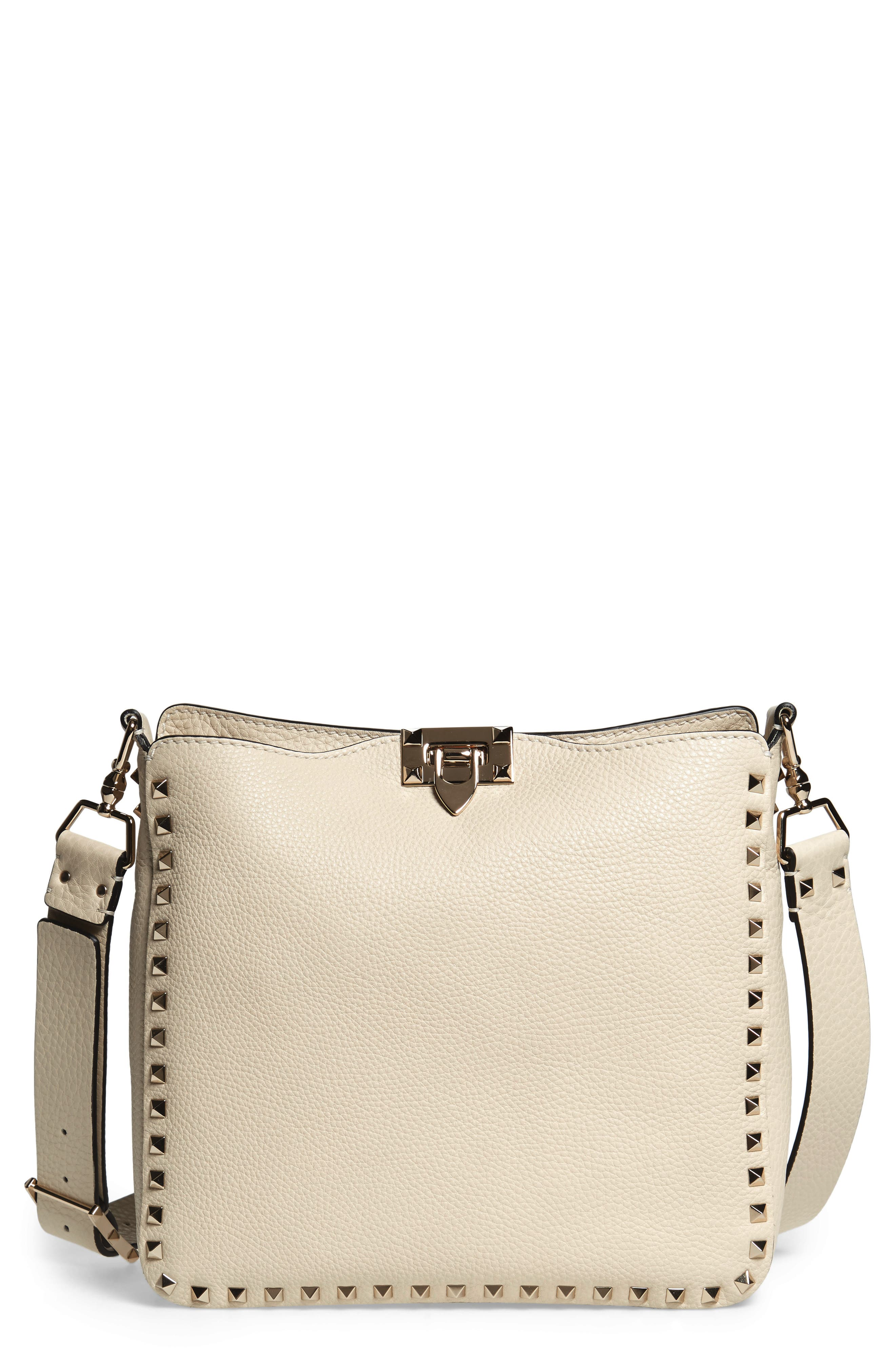 Small Rockstud Leather Hobo, Main, color, LIGHT IVORY