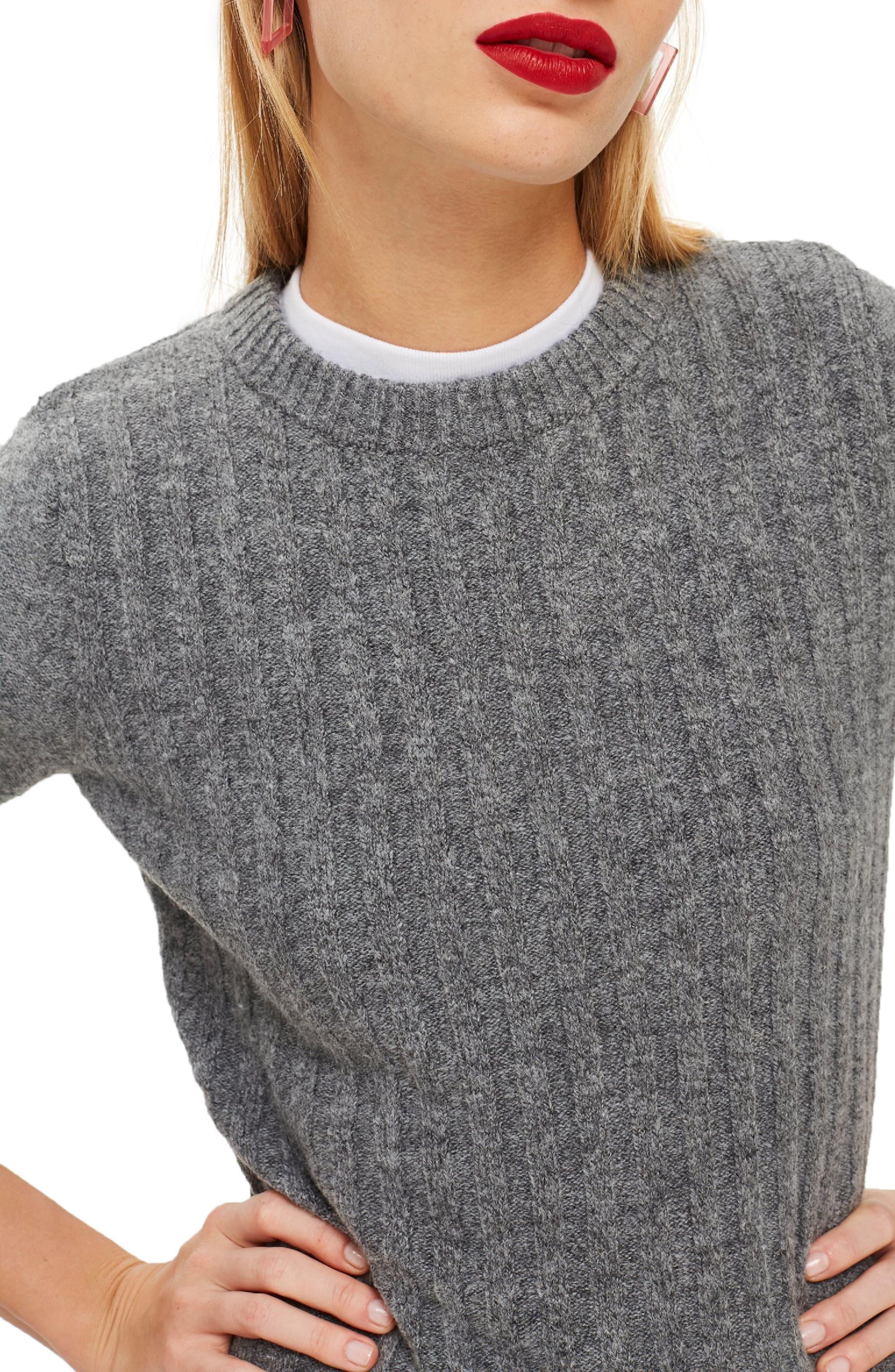 Rib Sweater,                             Alternate thumbnail 3, color,                             CHARCOAL