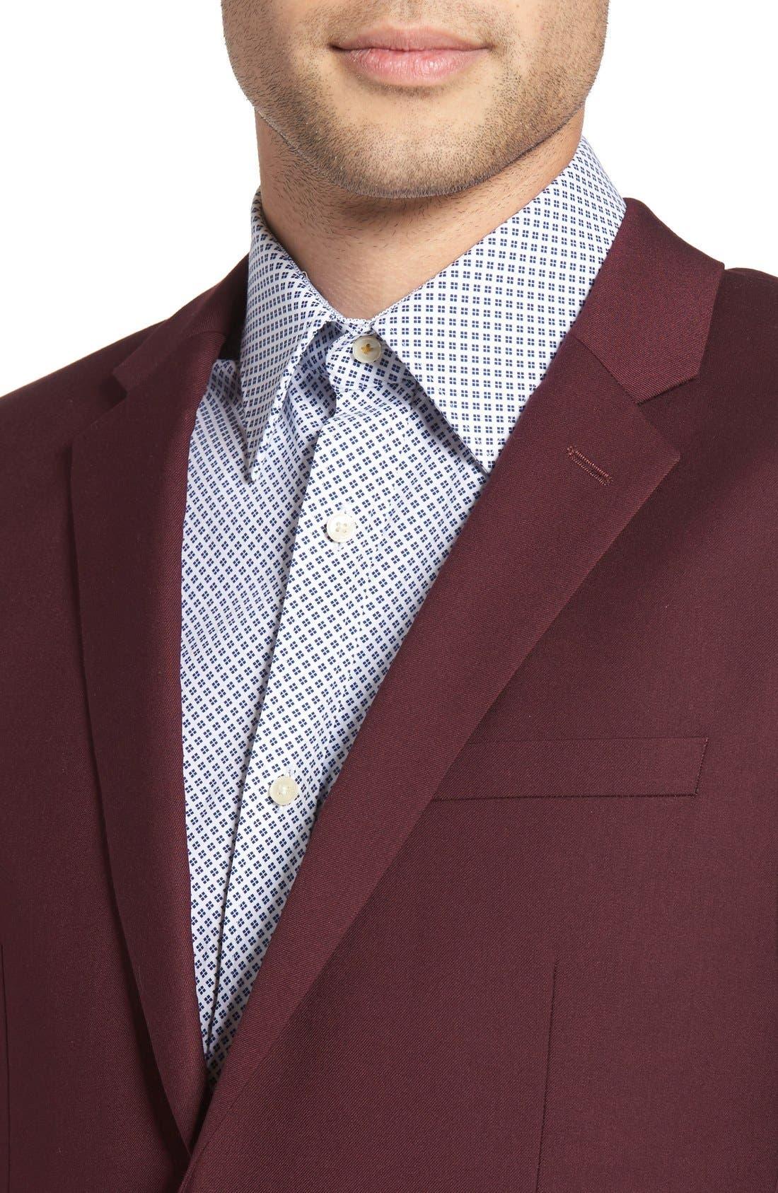 Burgundy Slim Fit Suit Jacket,                             Alternate thumbnail 4, color,                             930
