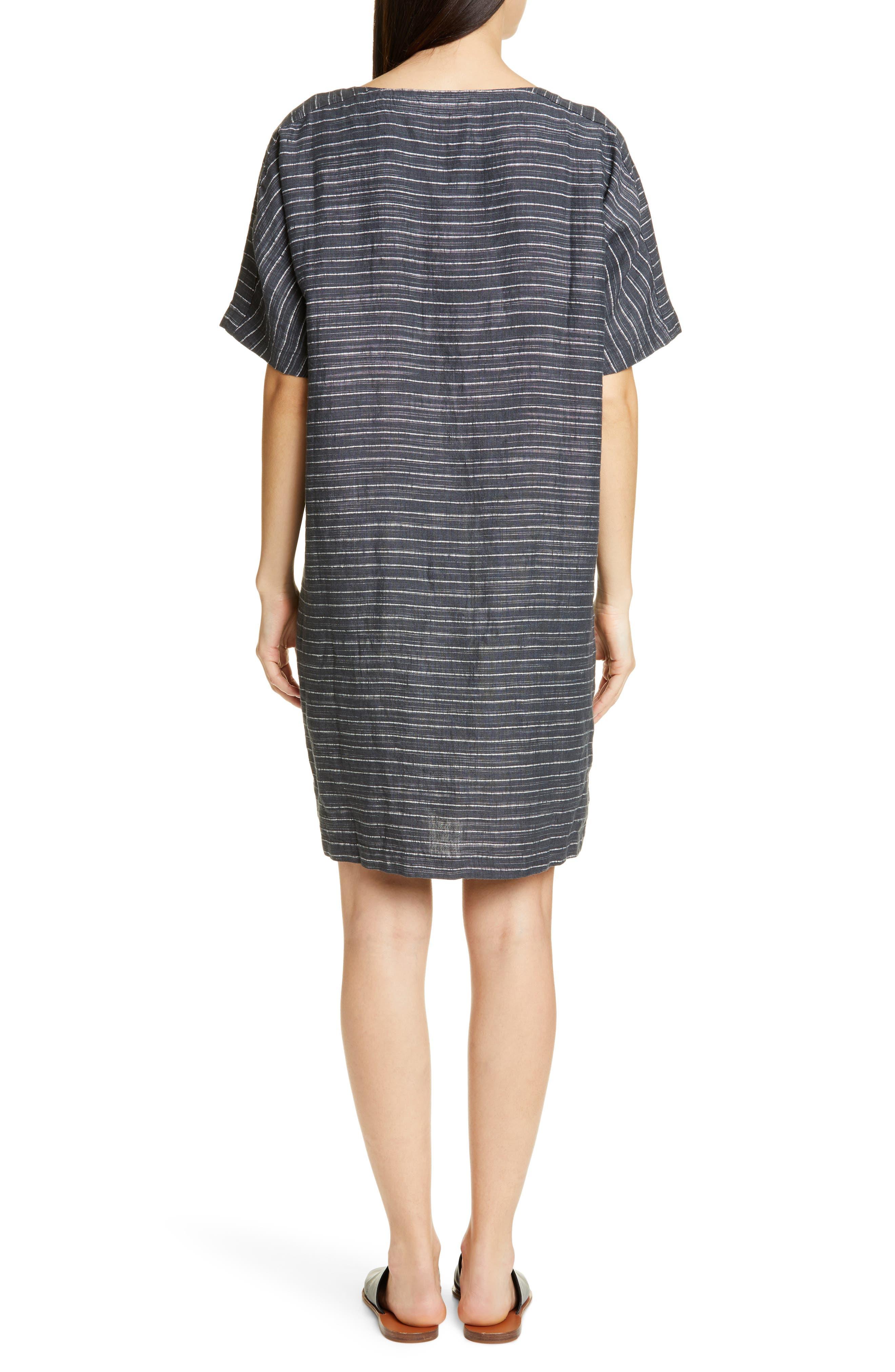 EILEEN FISHER,                             Stripe Linen Tunic Dress,                             Alternate thumbnail 2, color,                             GRAPHITE