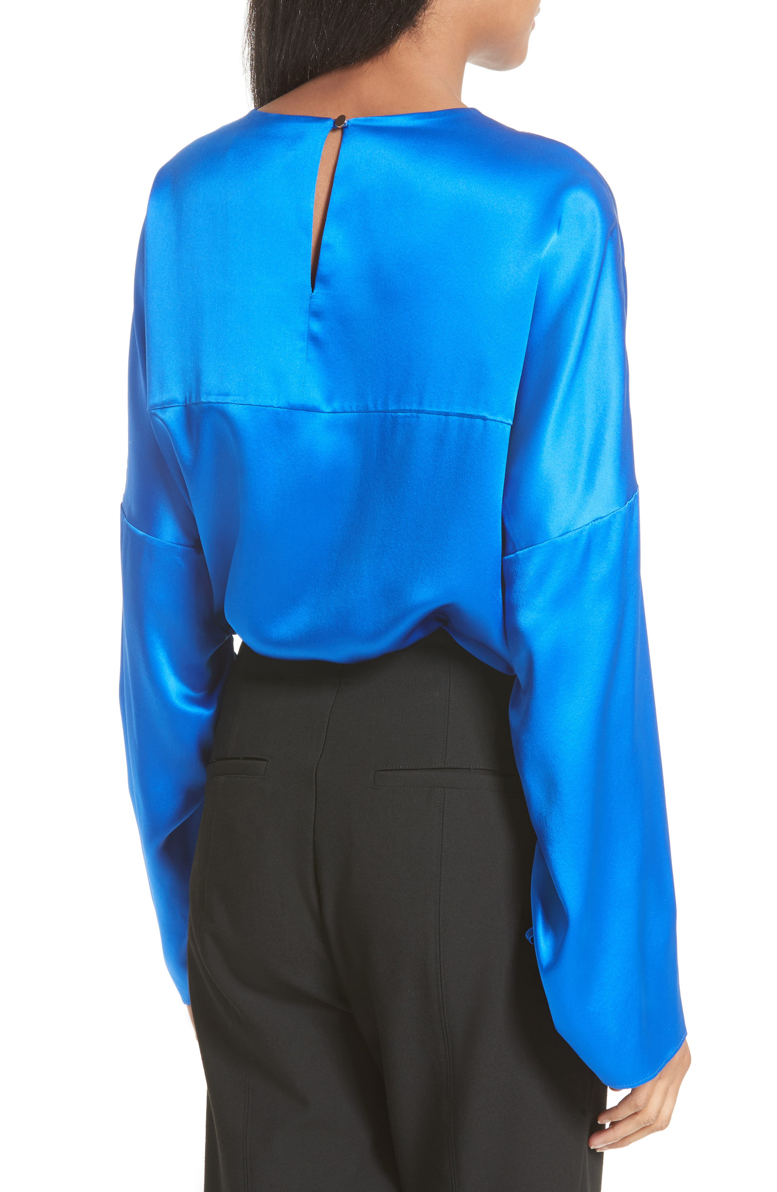Ruched Sleeve Satin Silk Top,                             Alternate thumbnail 2, color,