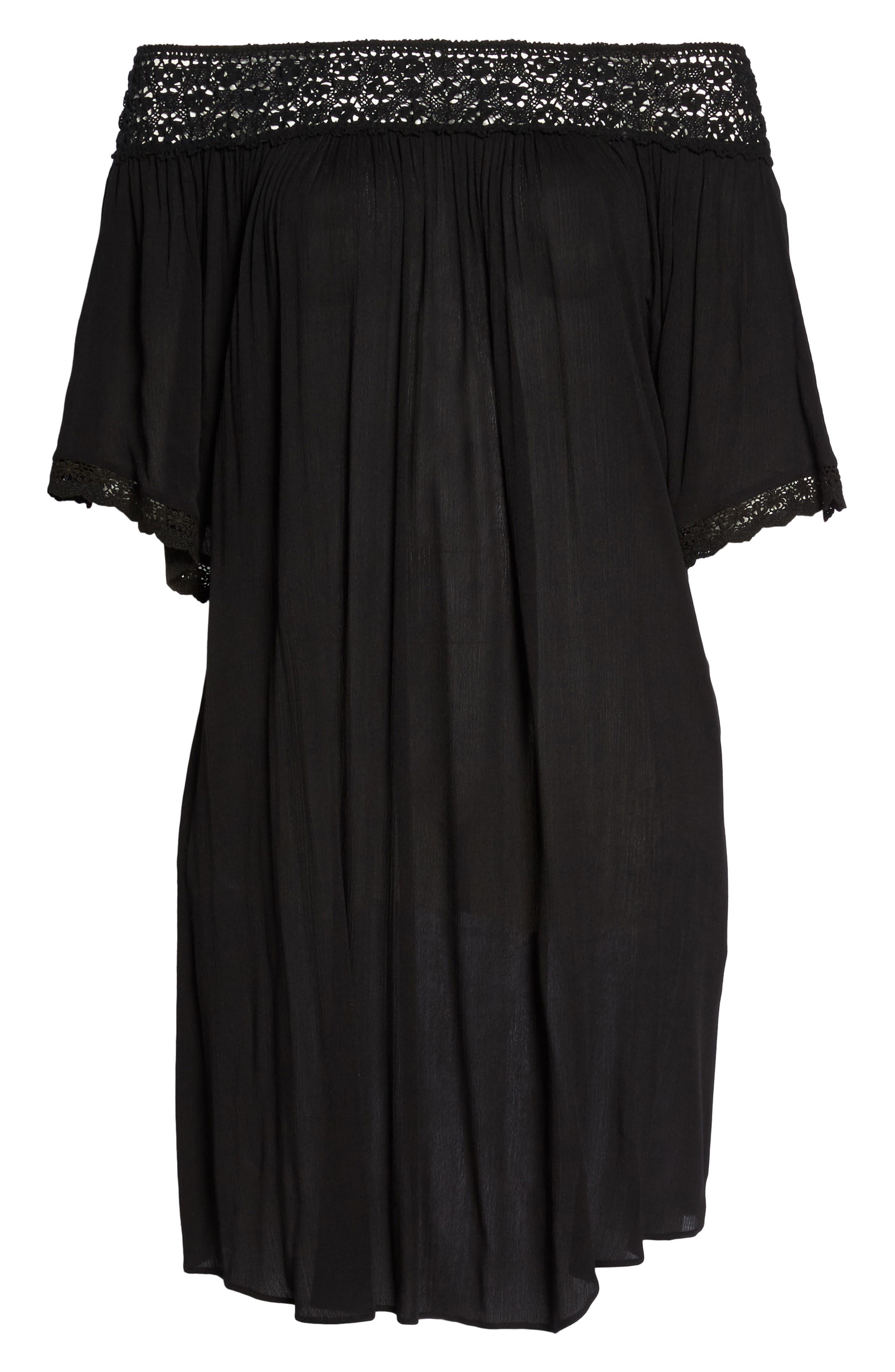 Rimini Crochet Cover-Up Dress,                             Alternate thumbnail 6, color,                             001