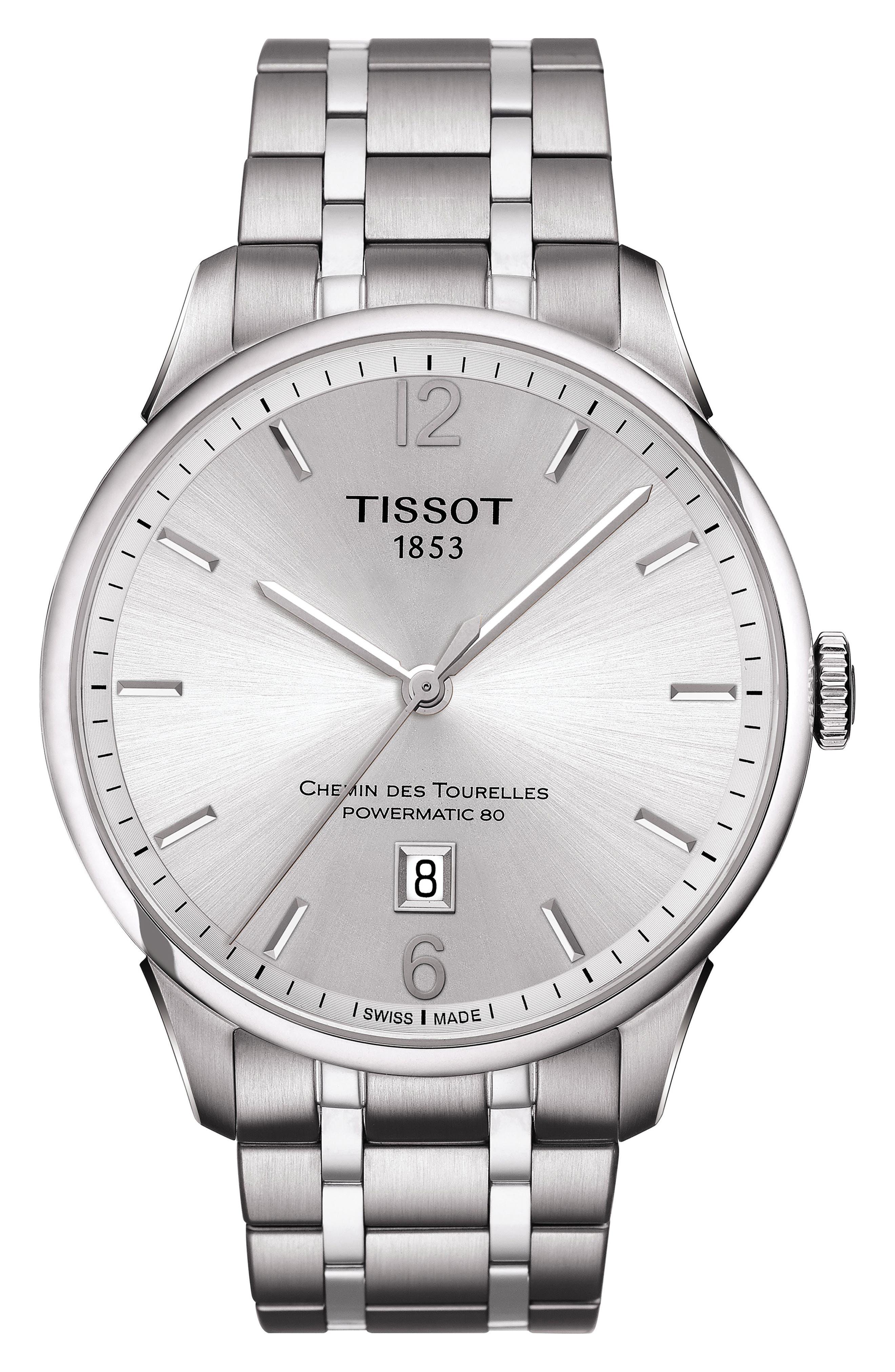 TISSOT,                             Chemin des Tourelles Powermatic 80 Bracelet Watch, 42mm,                             Main thumbnail 1, color,                             SILVER