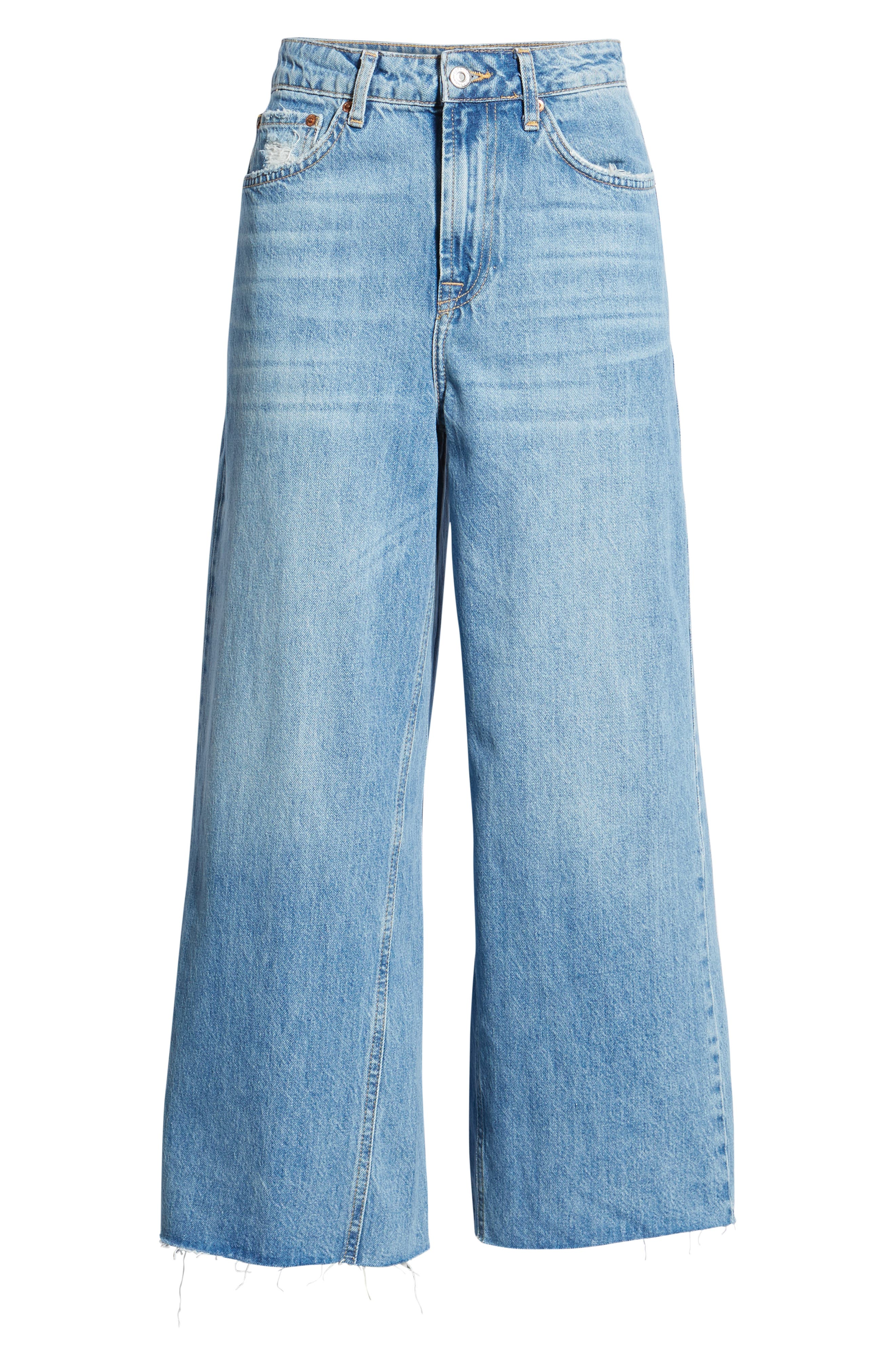 Crop Wide Leg Jeans,                             Alternate thumbnail 7, color,                             MID DENIM