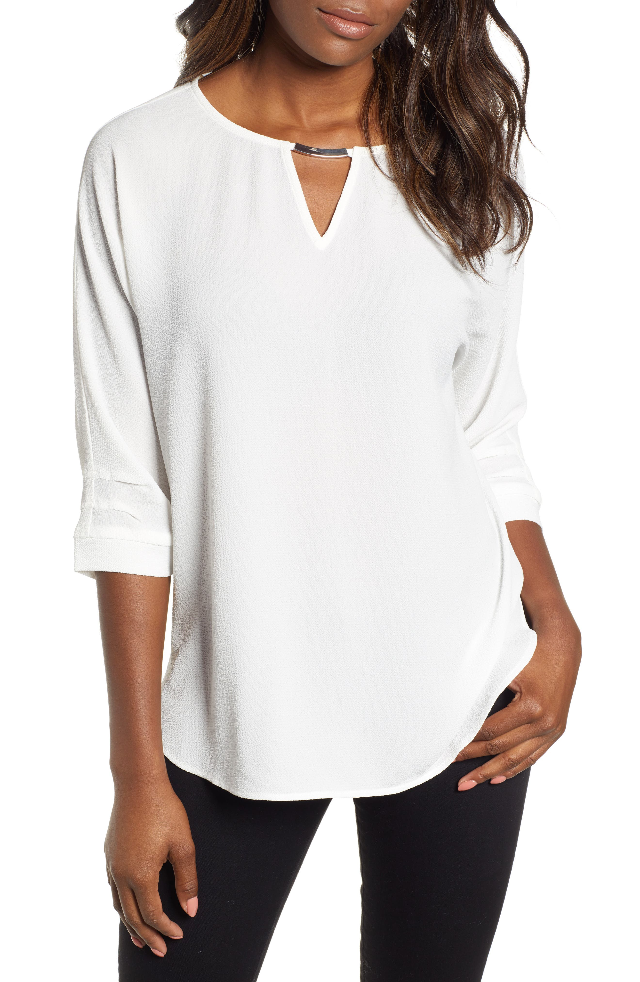 Embellished Neck Top,                         Main,                         color, OFF WHITE