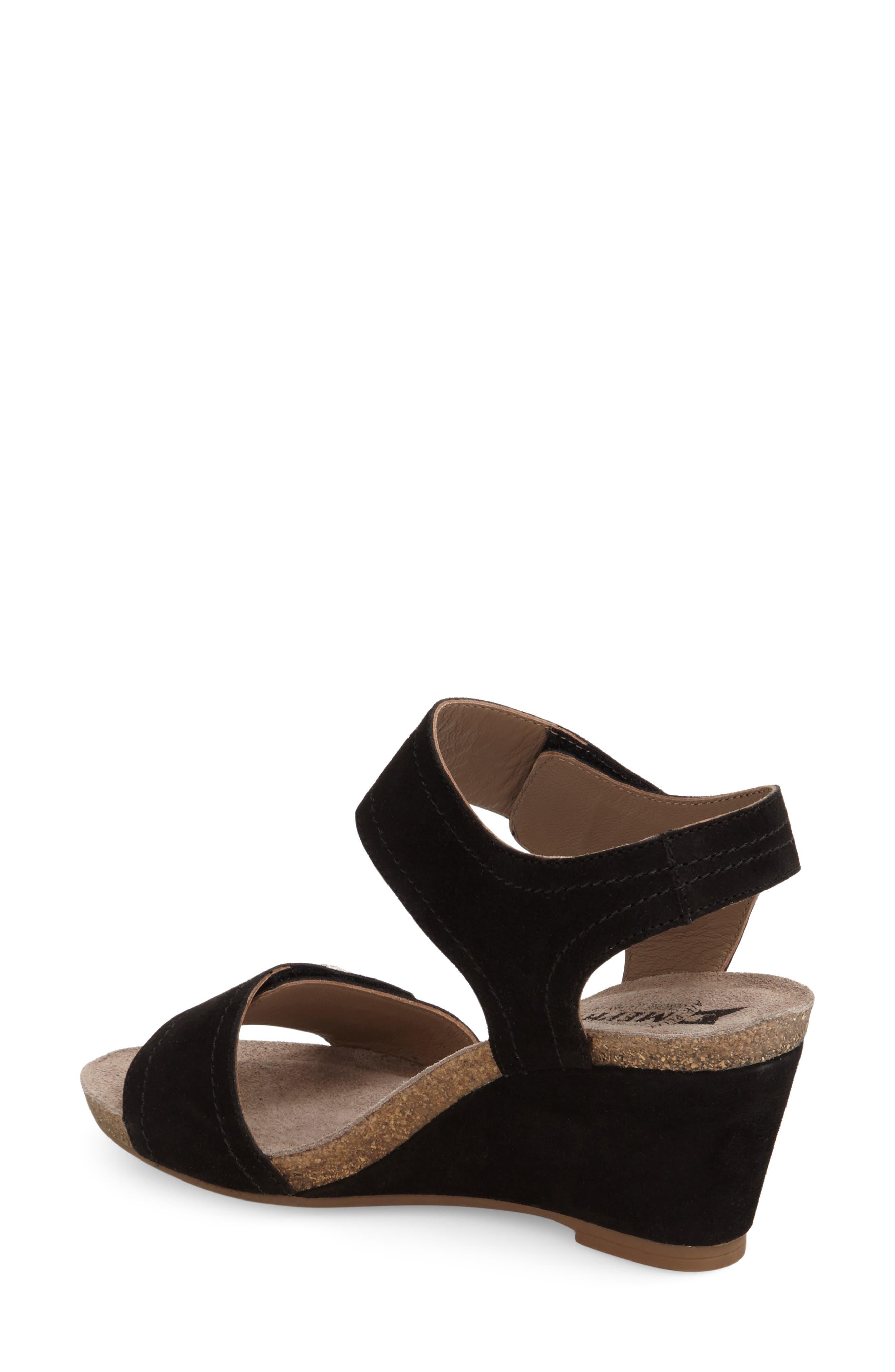 'Jackie' Wedge Sandal,                             Alternate thumbnail 4, color,                             BLACK PREMIUM SUEDE