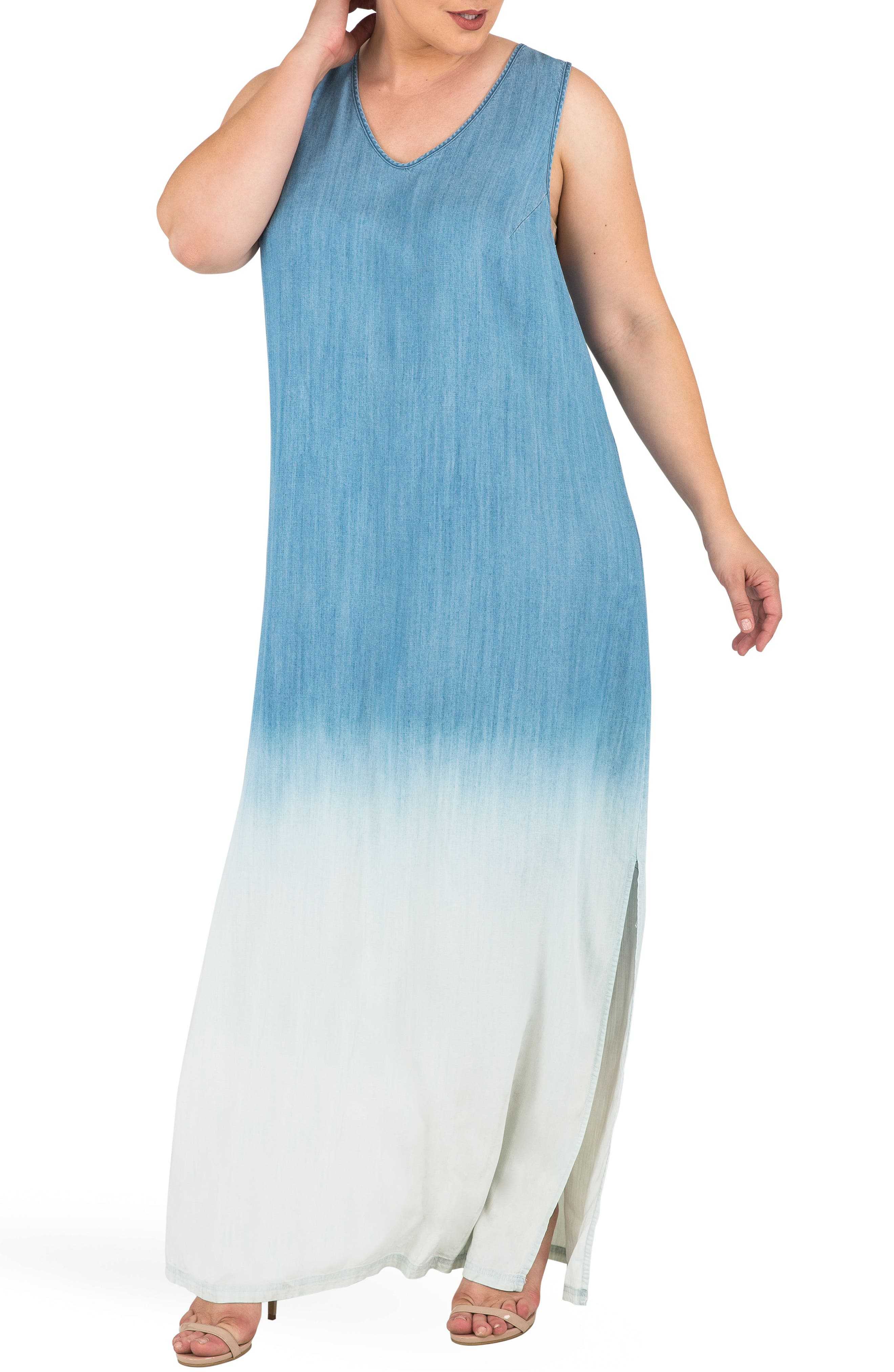 Angie Ombré Chmbray Maxi Dress,                         Main,                         color, BLUE