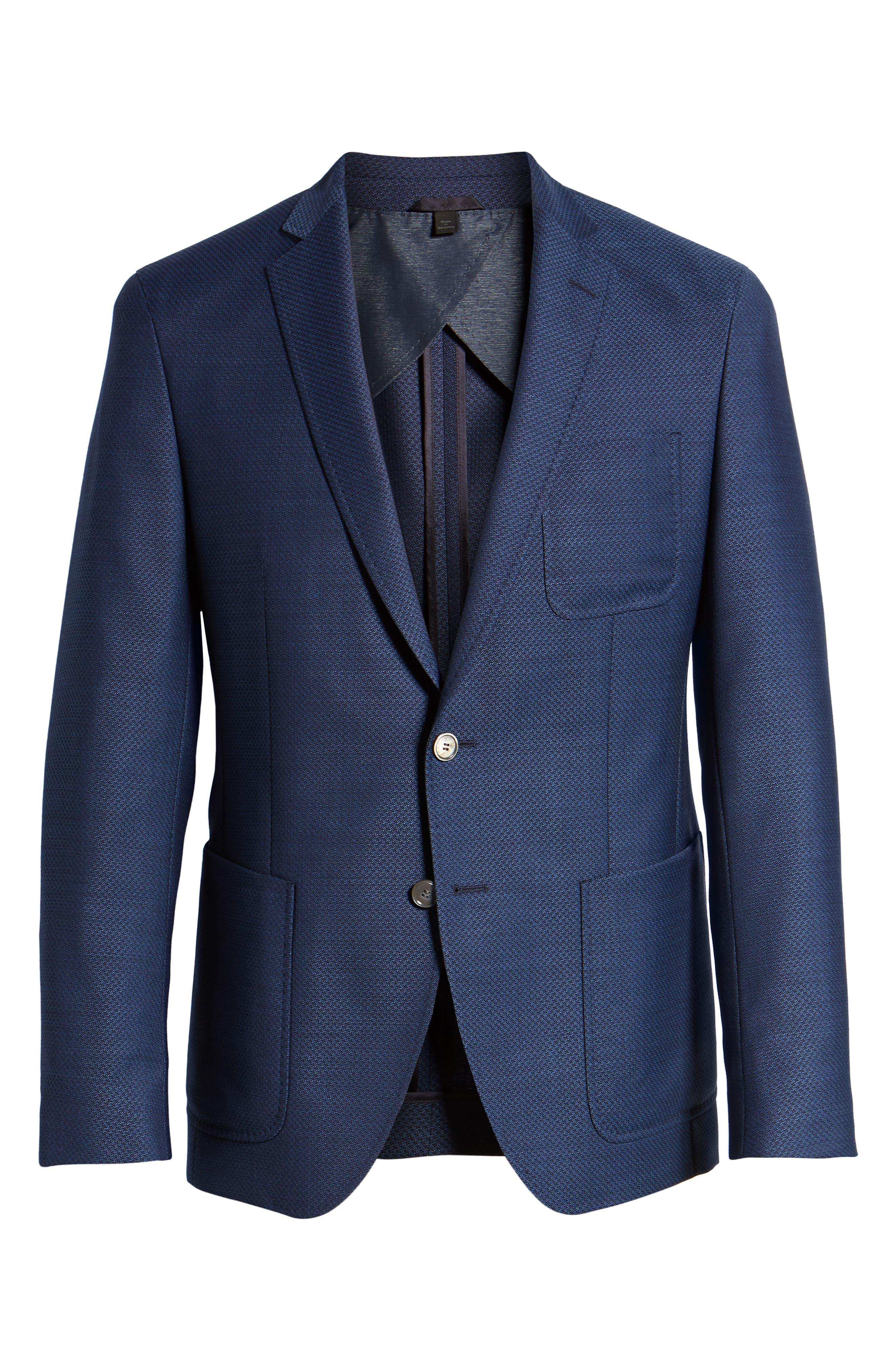 Raye Extra Trim Fit Wool Blazer,                             Alternate thumbnail 5, color,                             BLUE