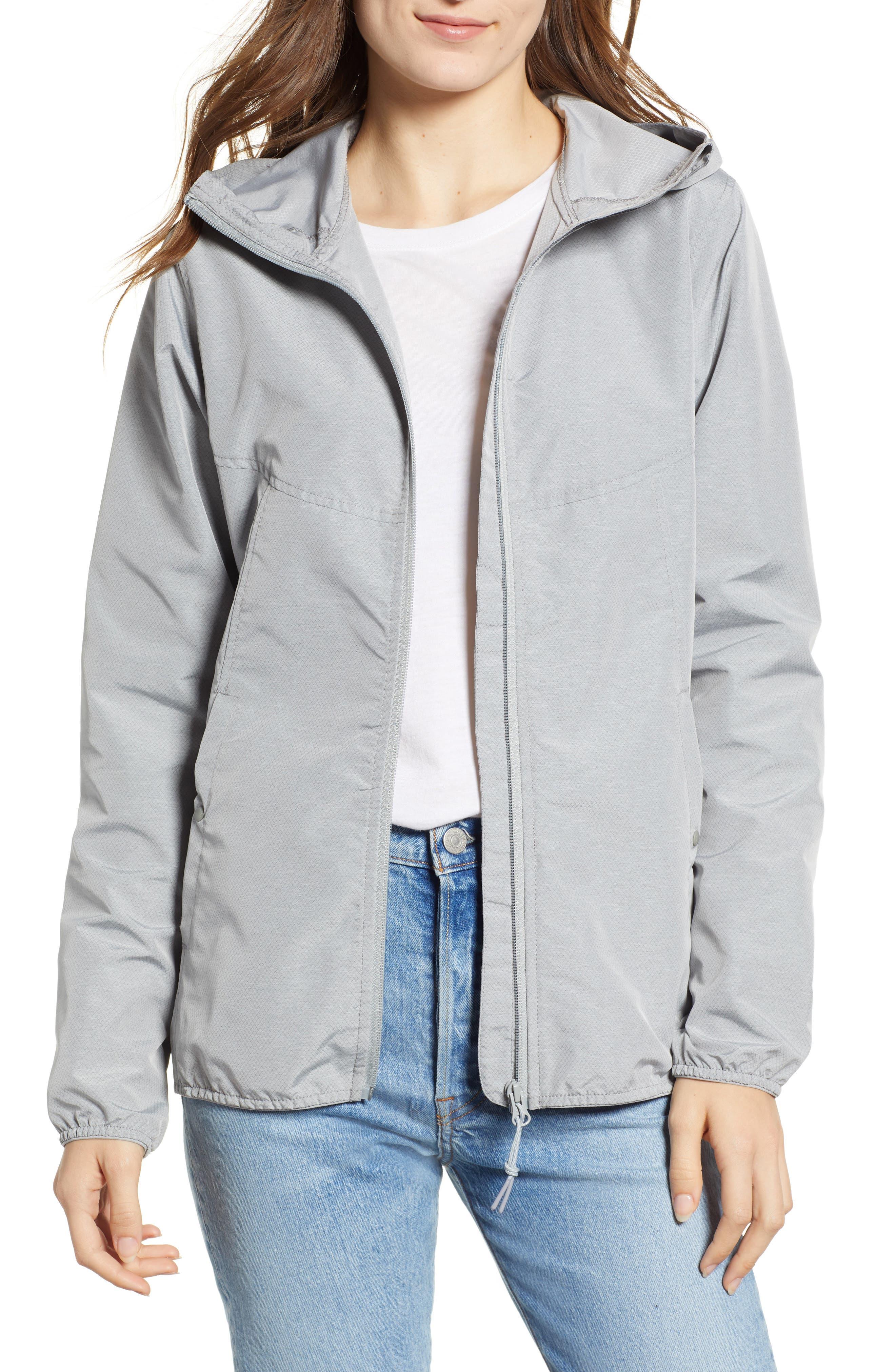 oyage Wind Hooded Jacket,                         Main,                         color, LIGHT GREY CROSSHATCH