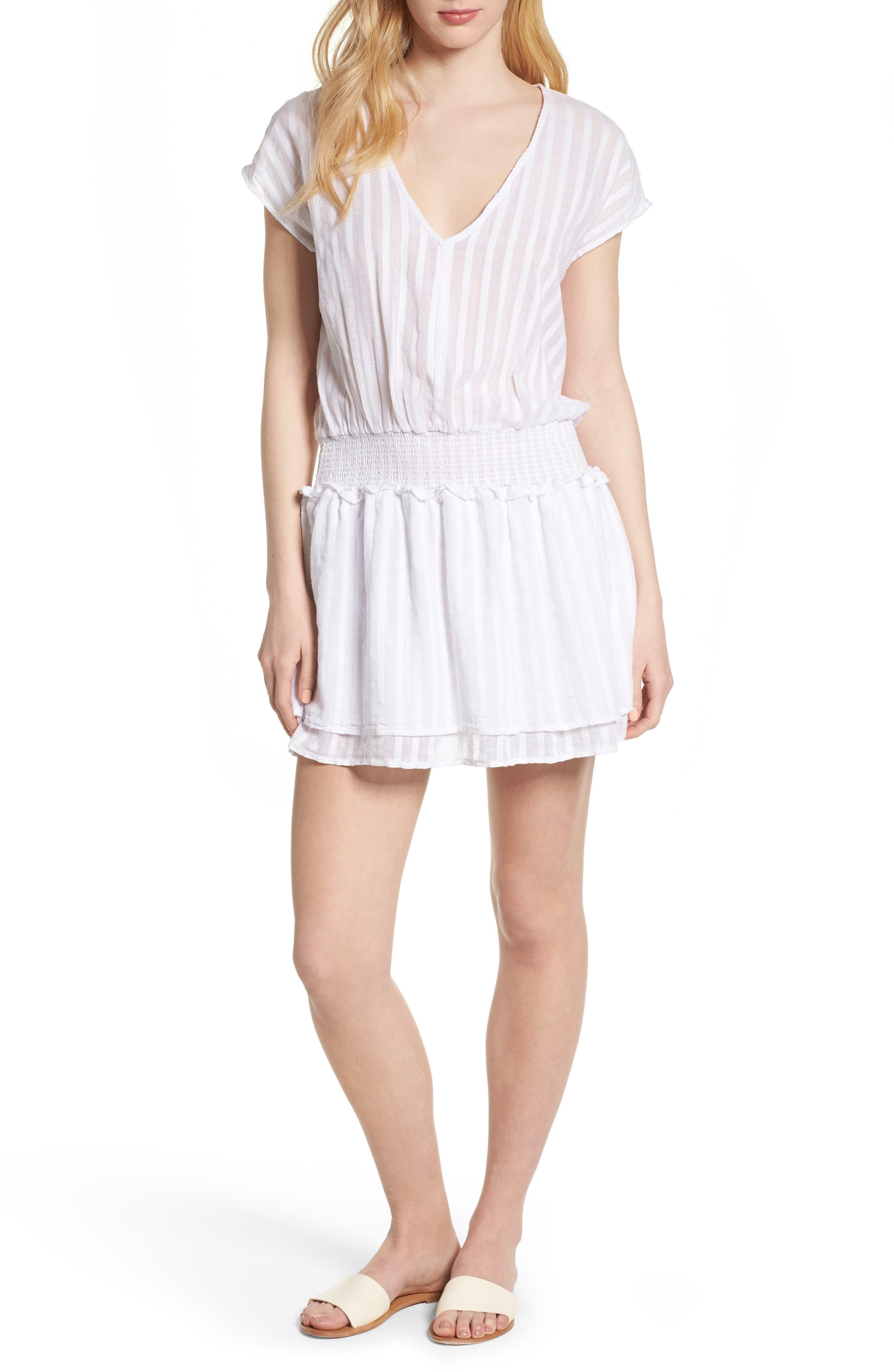 Lucca Blouson Cotton Dress,                         Main,                         color, WHITE SHADOW STRIPE