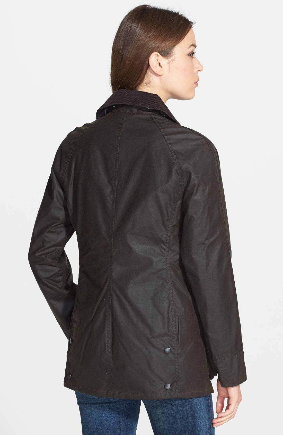 Beadnell Waxed Cotton Jacket,                             Alternate thumbnail 9, color,                             OLIVE