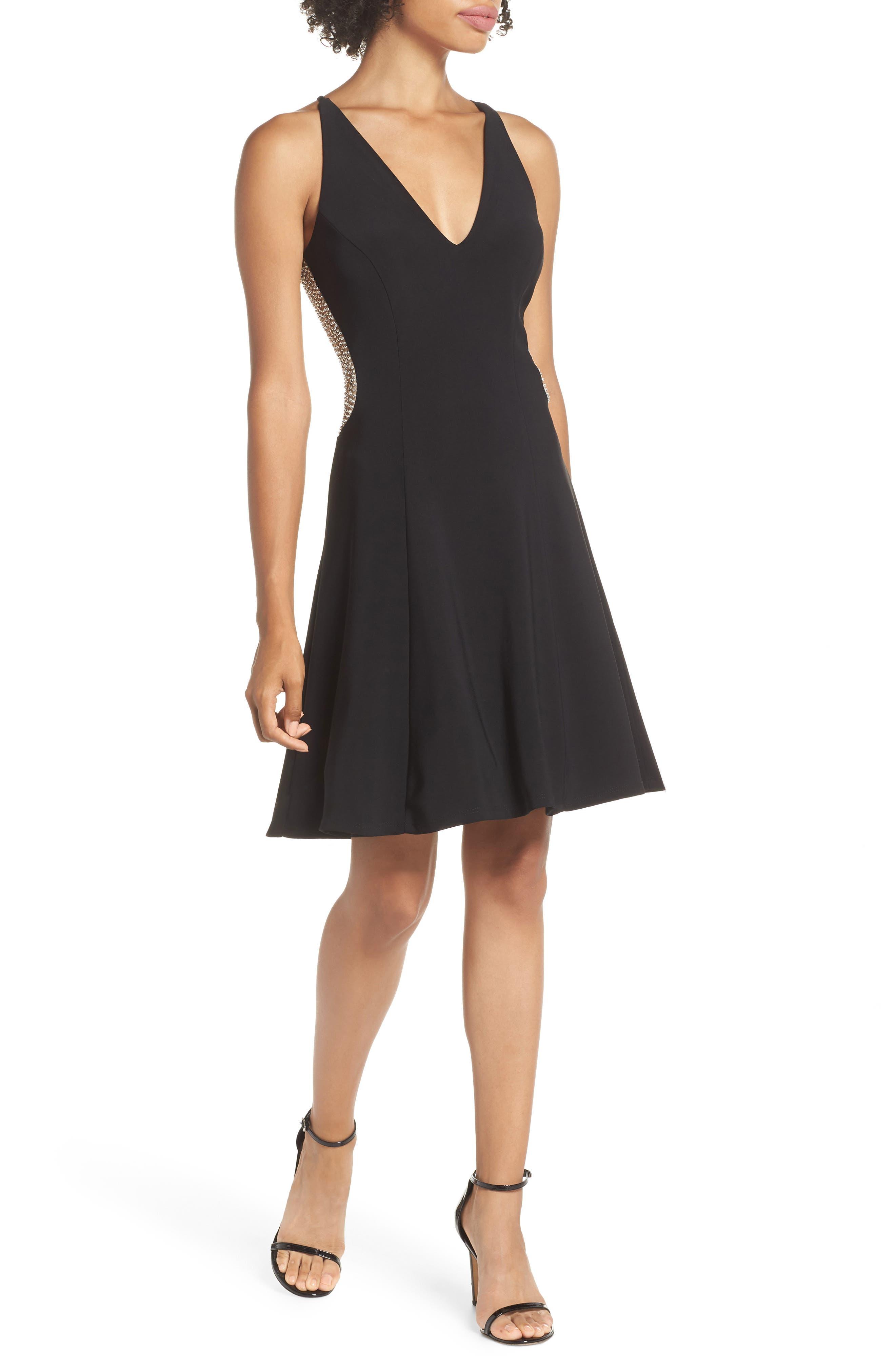 Deep V-Neck Skater Dress,                             Main thumbnail 1, color,                             BLACK/ / NUDE/ SILVER