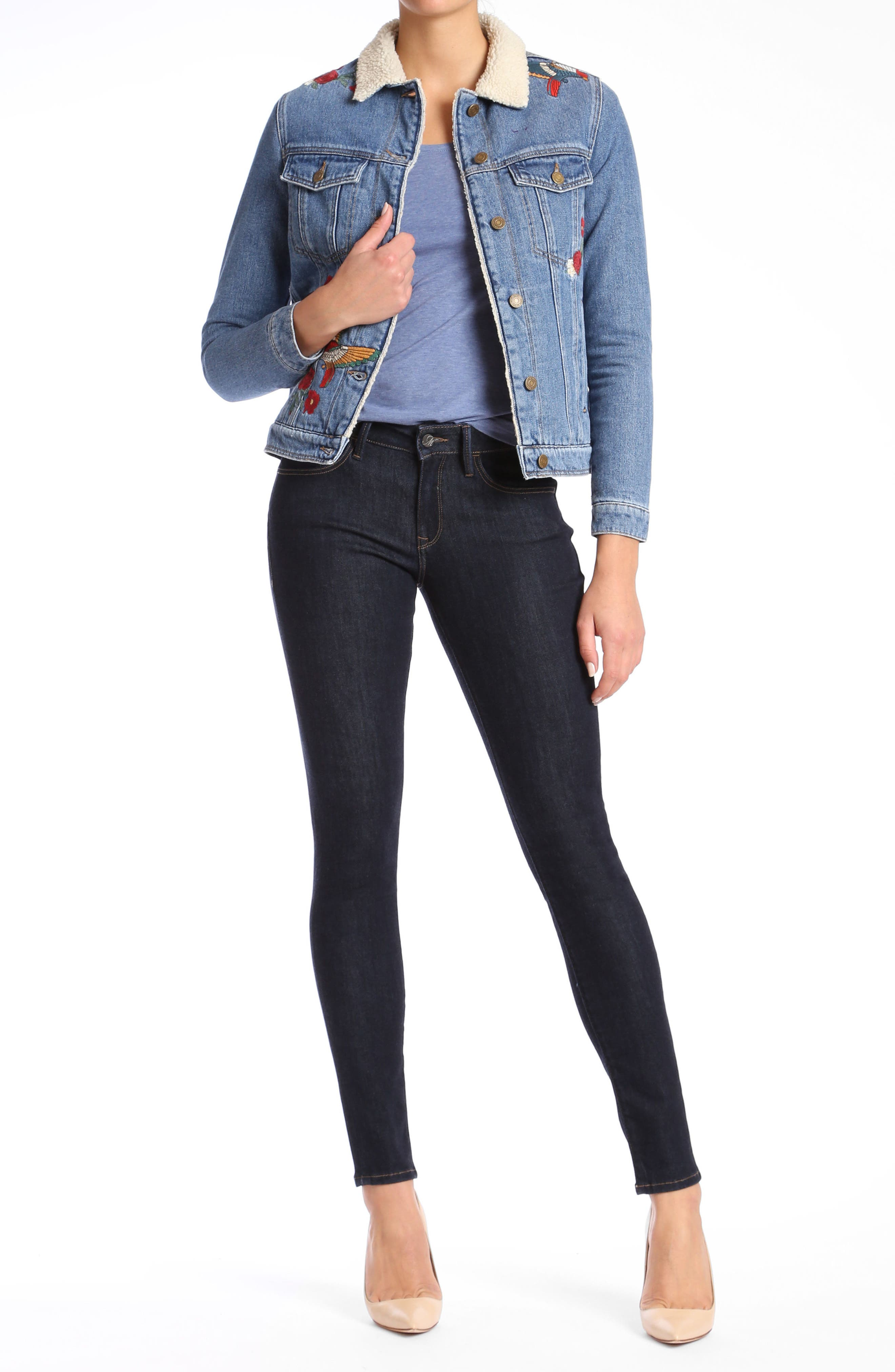 Katy Embroidered Denim Jacket,                             Alternate thumbnail 4, color,                             420