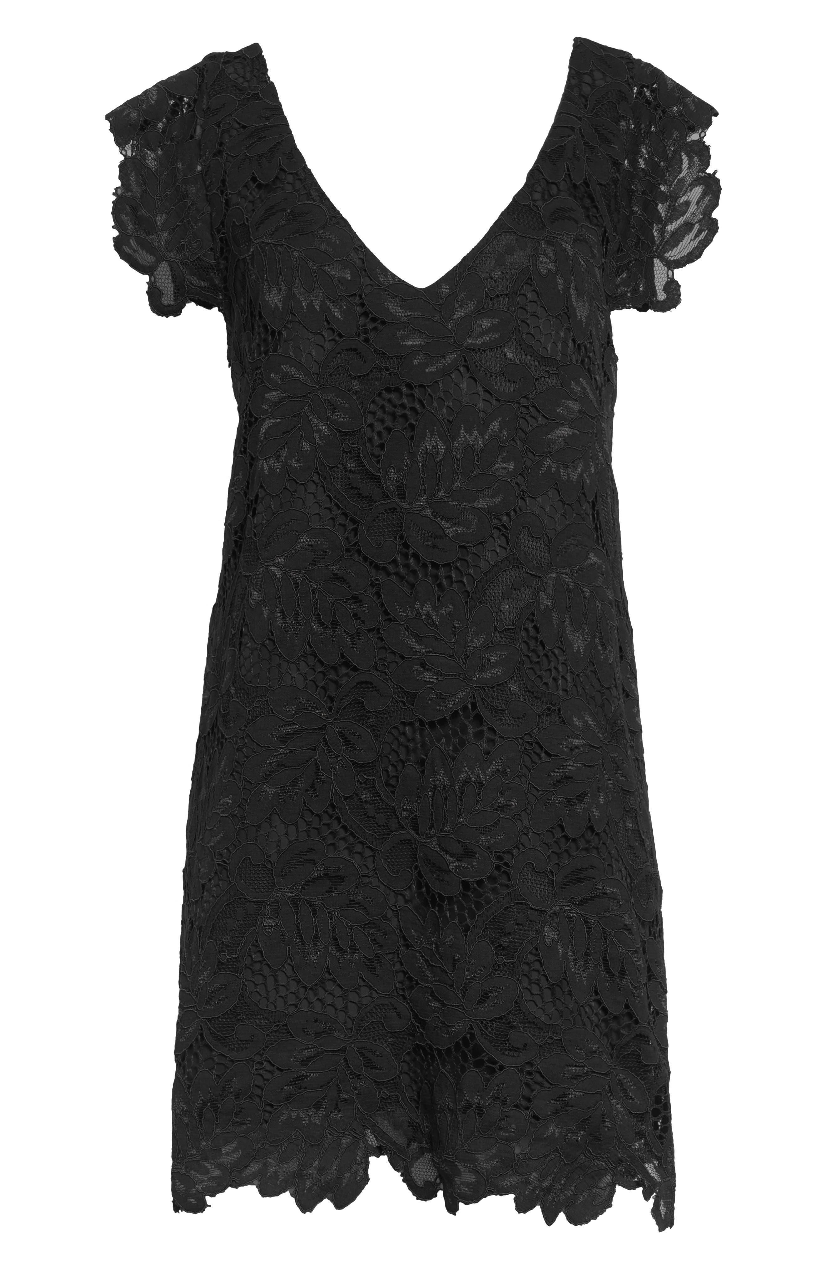 'Jacqueline' Lace Shift Dress,                             Alternate thumbnail 8, color,                             BLACK