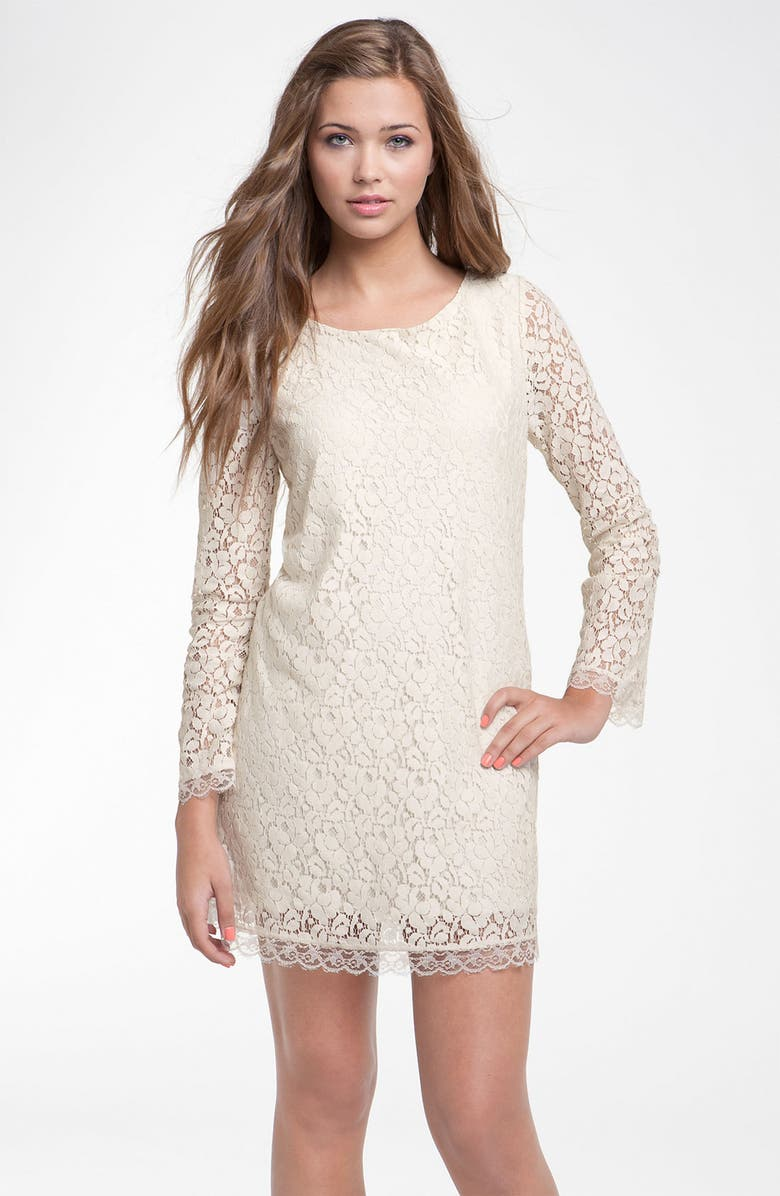 Velvet Torch Long Sleeve Lace Dress (Juniors)  1d6fdfd53
