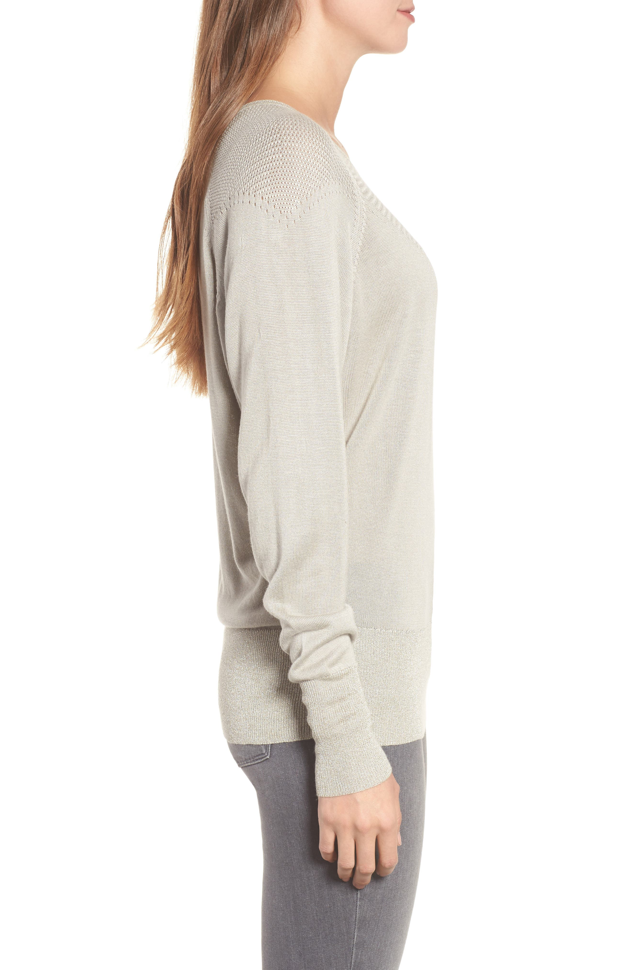 Elisabeth Pullover Sweater,                             Alternate thumbnail 3, color,                             DOVE