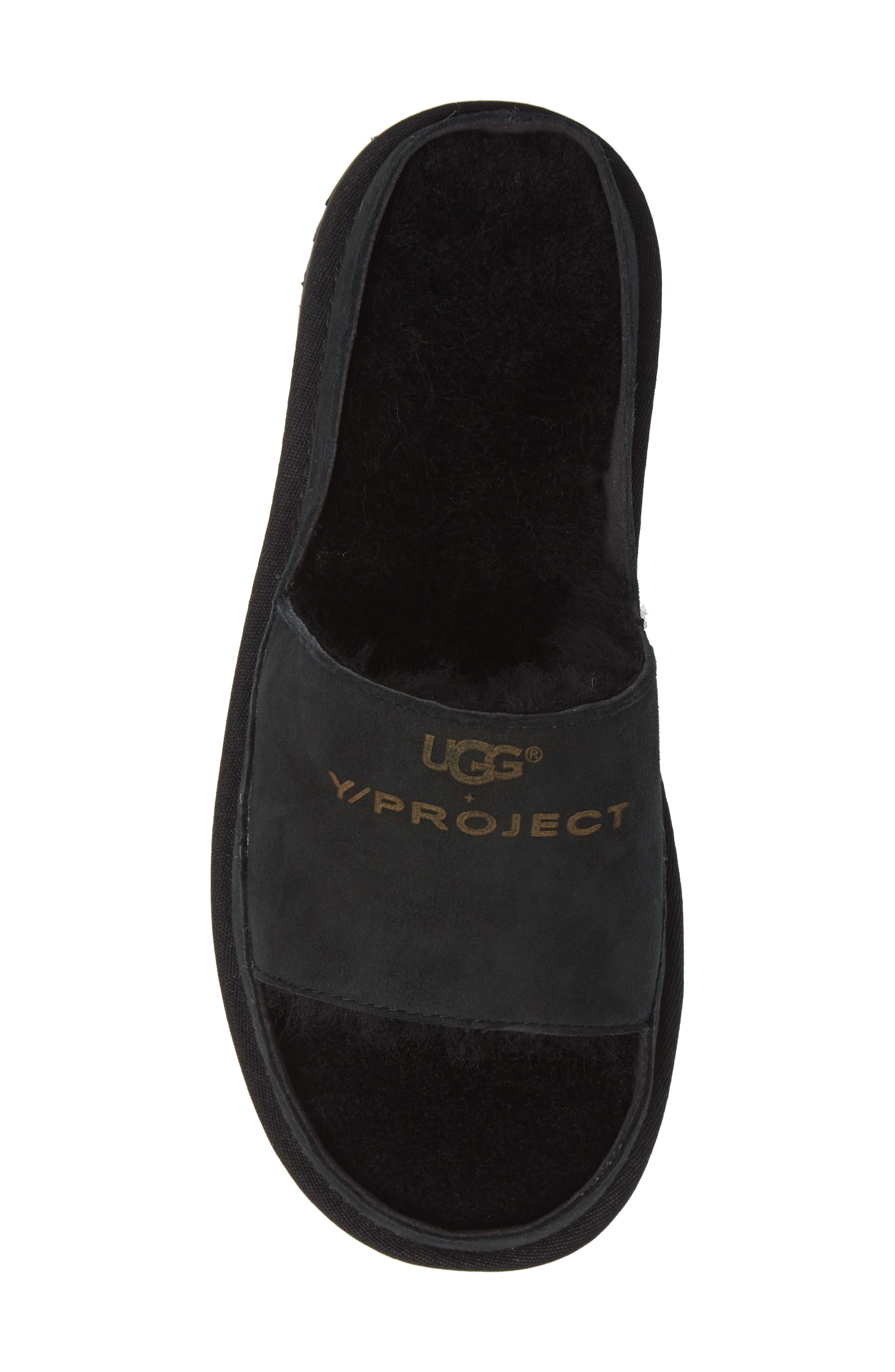 x UGG<sup>®</sup> Genuine Shearling Slide Sandal,                             Alternate thumbnail 5, color,                             001