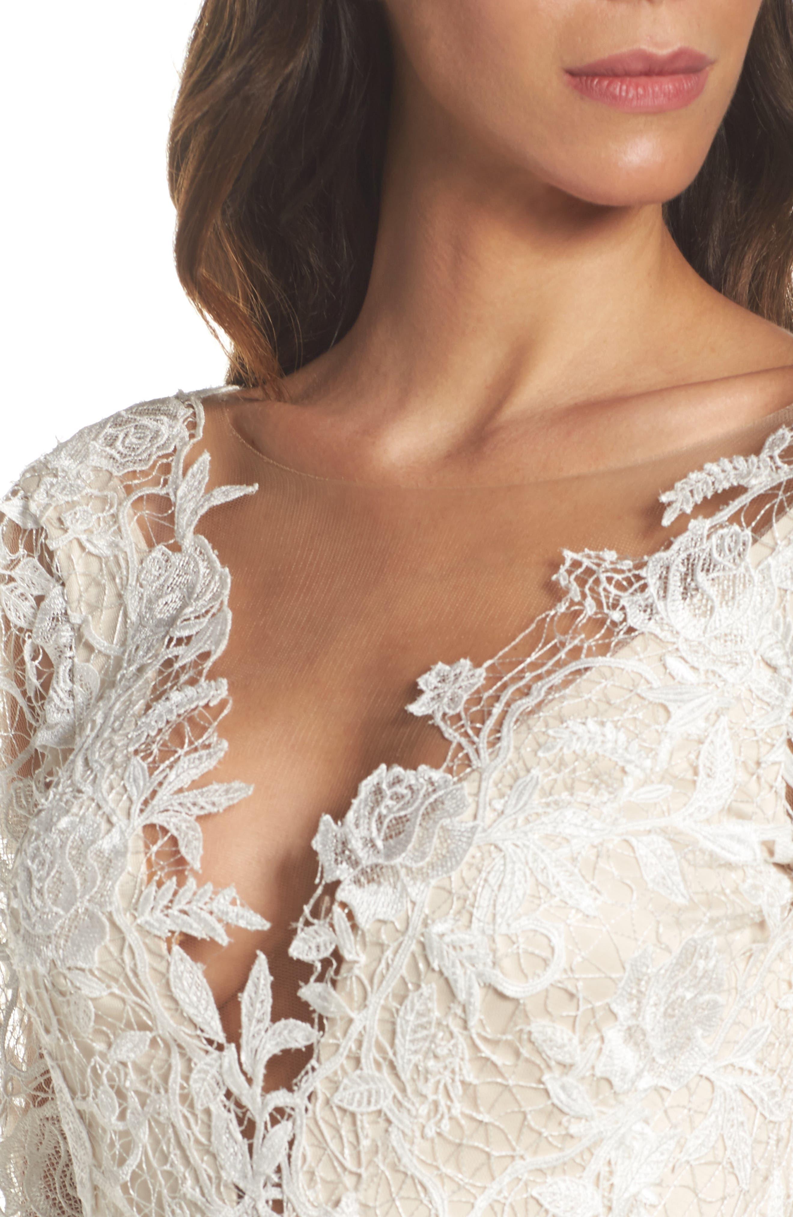Long Sleeve A-Line Sheath Gown,                             Alternate thumbnail 4, color,                             IVORY/ PETAL