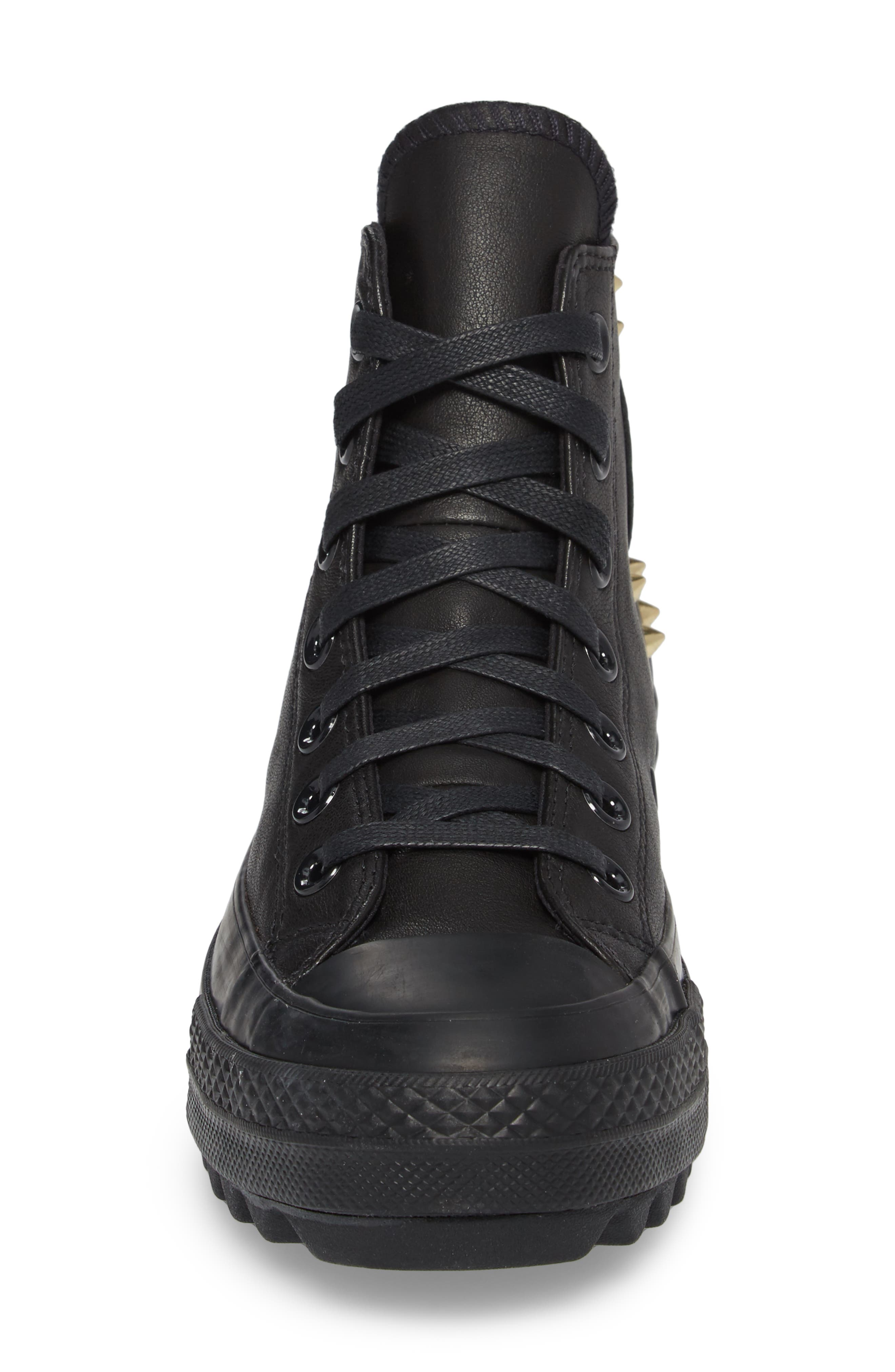 Chuck Taylor<sup>®</sup> All Star<sup>®</sup> Lift Ripple Studded High Top Sneaker,                             Alternate thumbnail 4, color,                             001