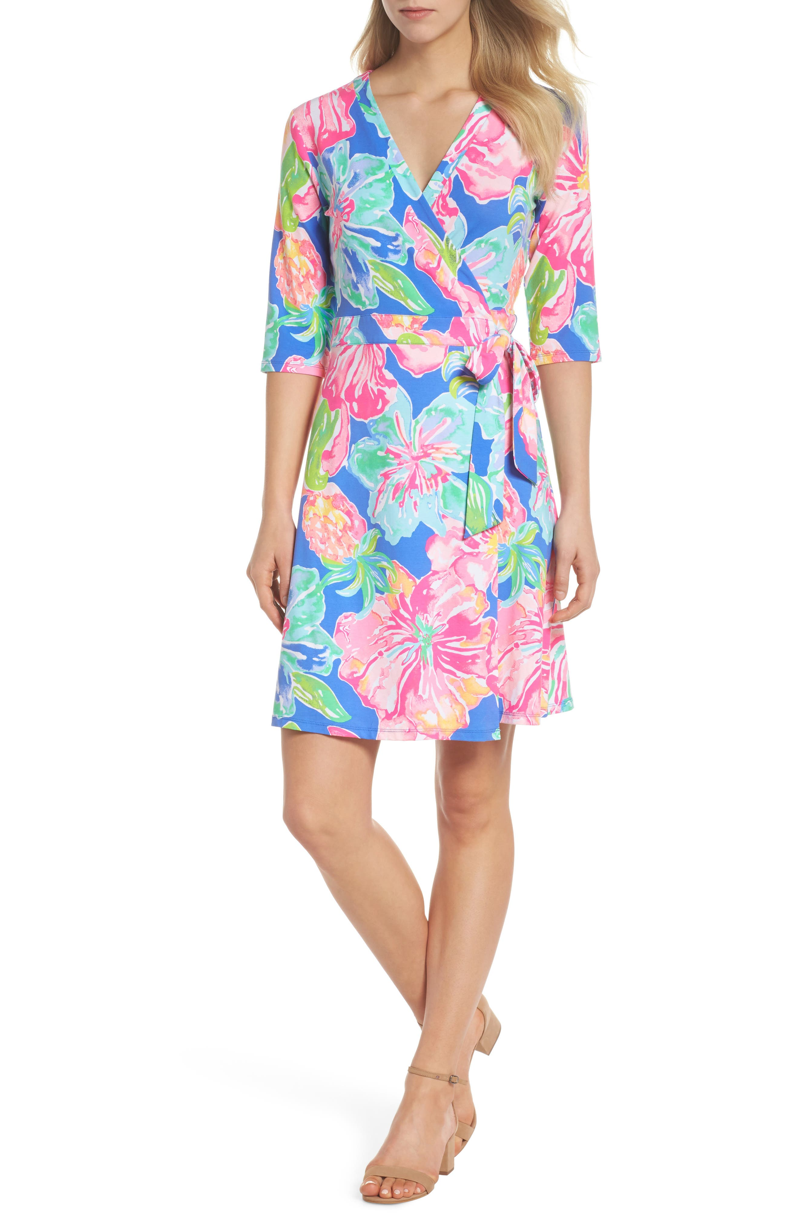 Marvista Wrap Dress,                             Alternate thumbnail 5, color,                             BECKON BLUE JUNGLE UTOPIA
