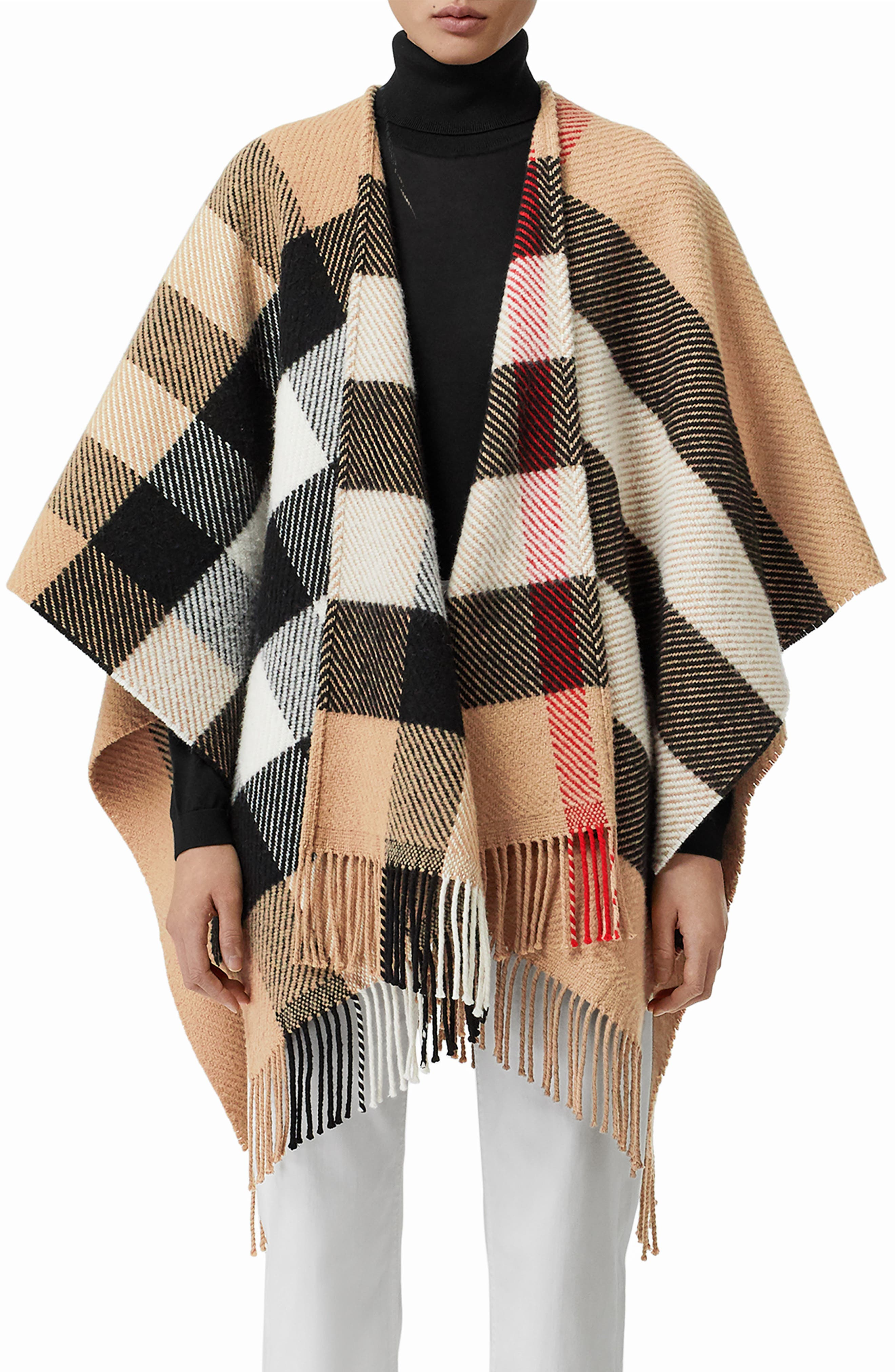 Check Wool & Cashmere Fringe Cape, Main, color, CAMEL