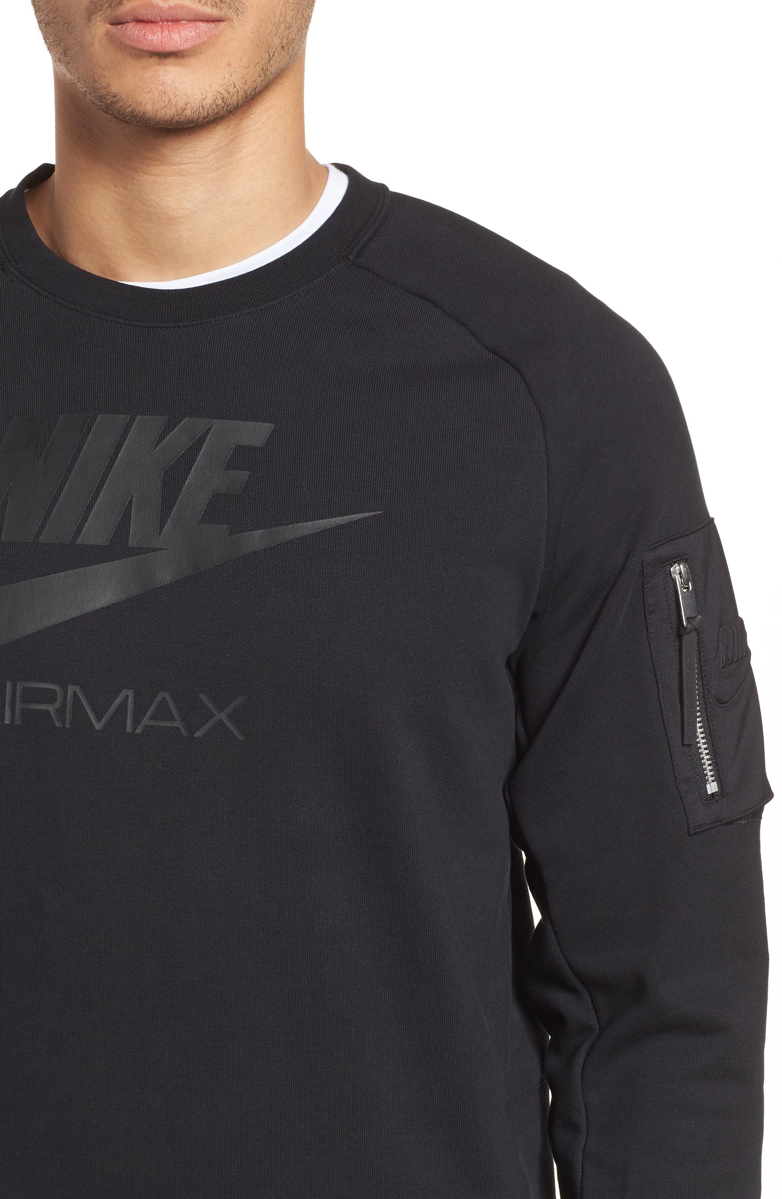 NSW Air Max Crewneck Sweatshirt,                             Alternate thumbnail 4, color,                             BLACK/ BLACK/ BLACK