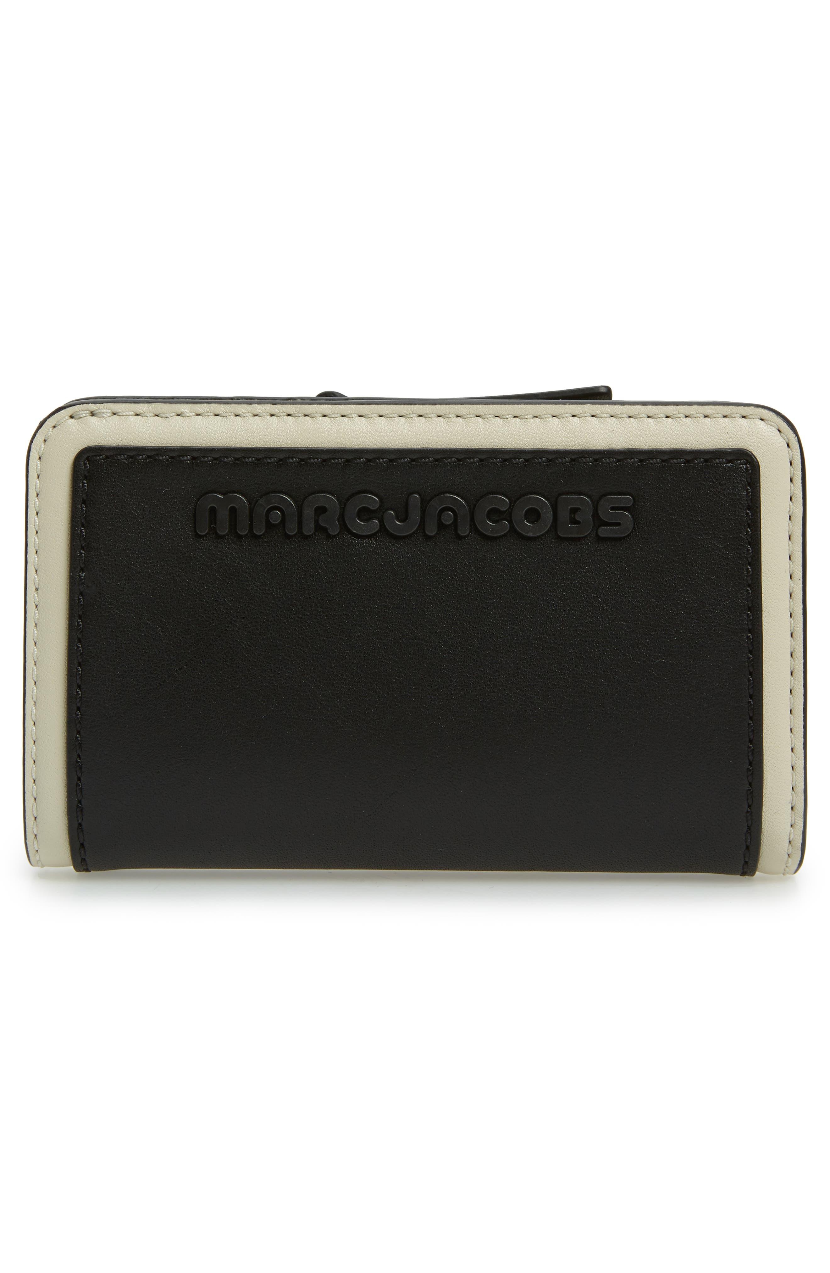 Sport Compact Leather Wallet,                             Alternate thumbnail 4, color,                             BLACK/ WHITE