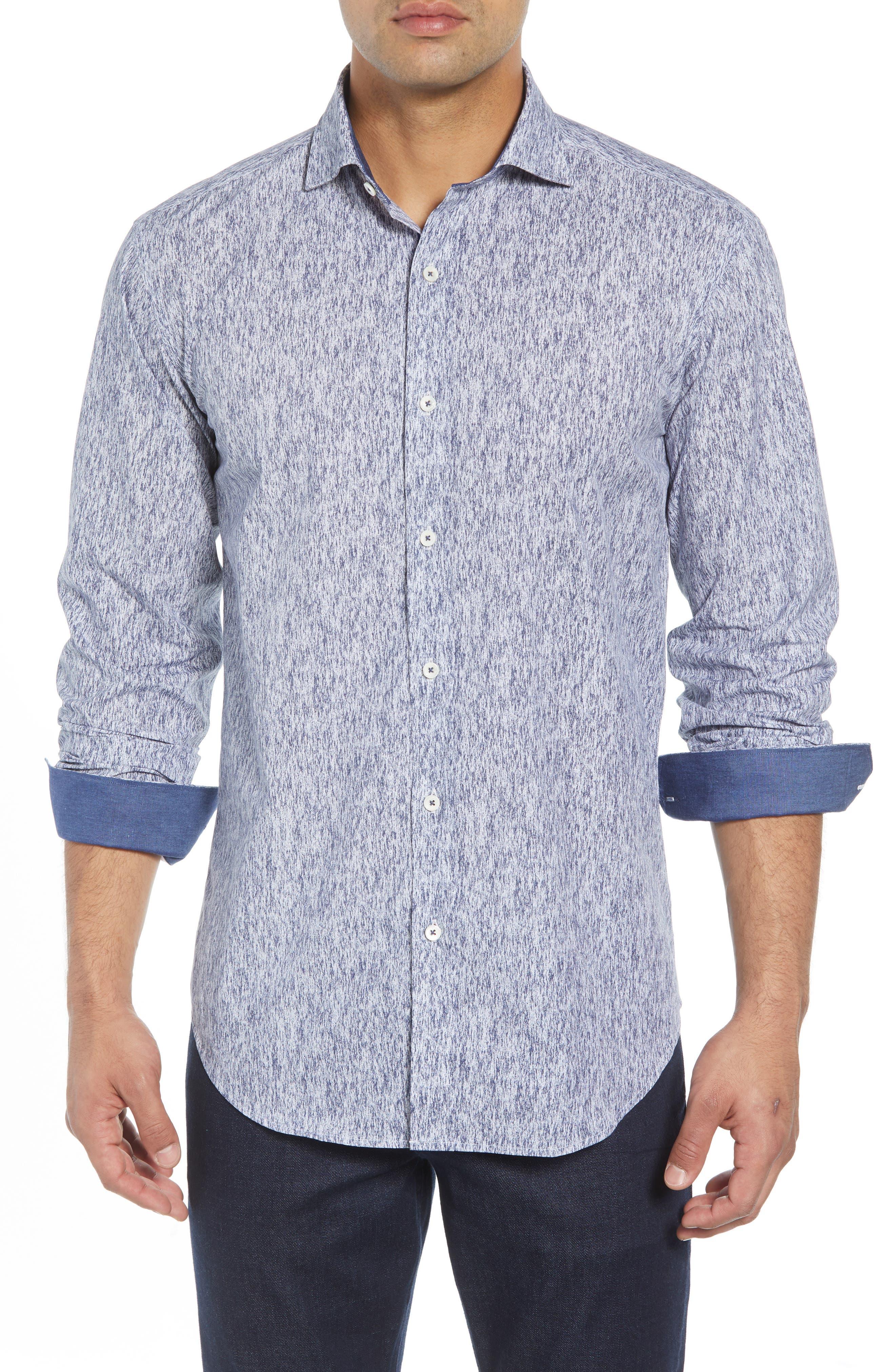 Shaped Fit Print Sport Shirt,                         Main,                         color, COBALT